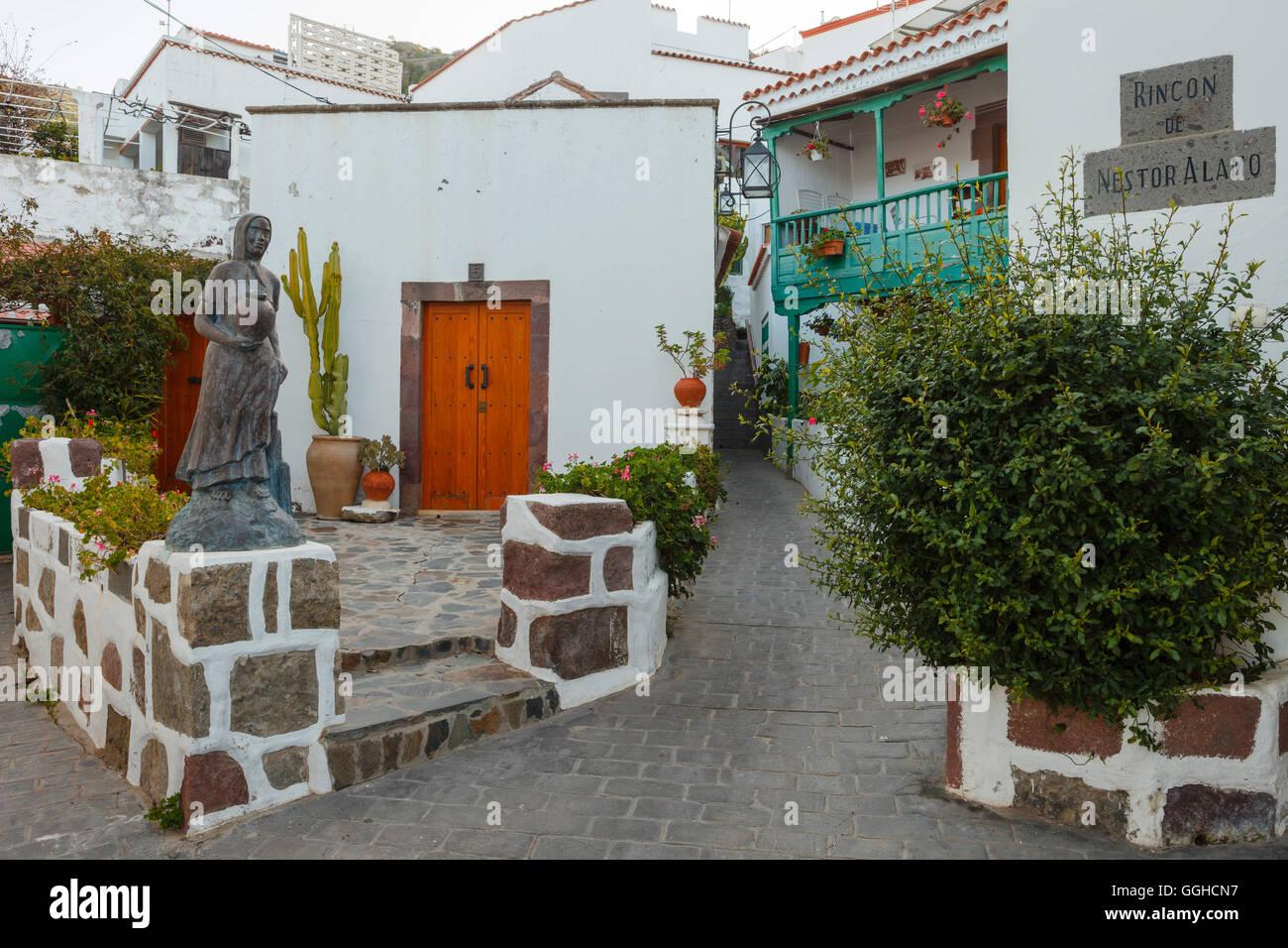 Rincon de Nestor Alamo, alley in Tejeda village, Gran Canaria, Canary Islands, Spain, Europe - Stock Image