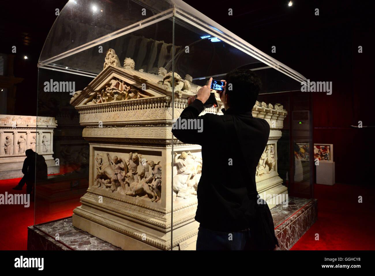 Alexander Sarcophagus, Archaeology Museum, Istanbul, Turkey Stock Photo