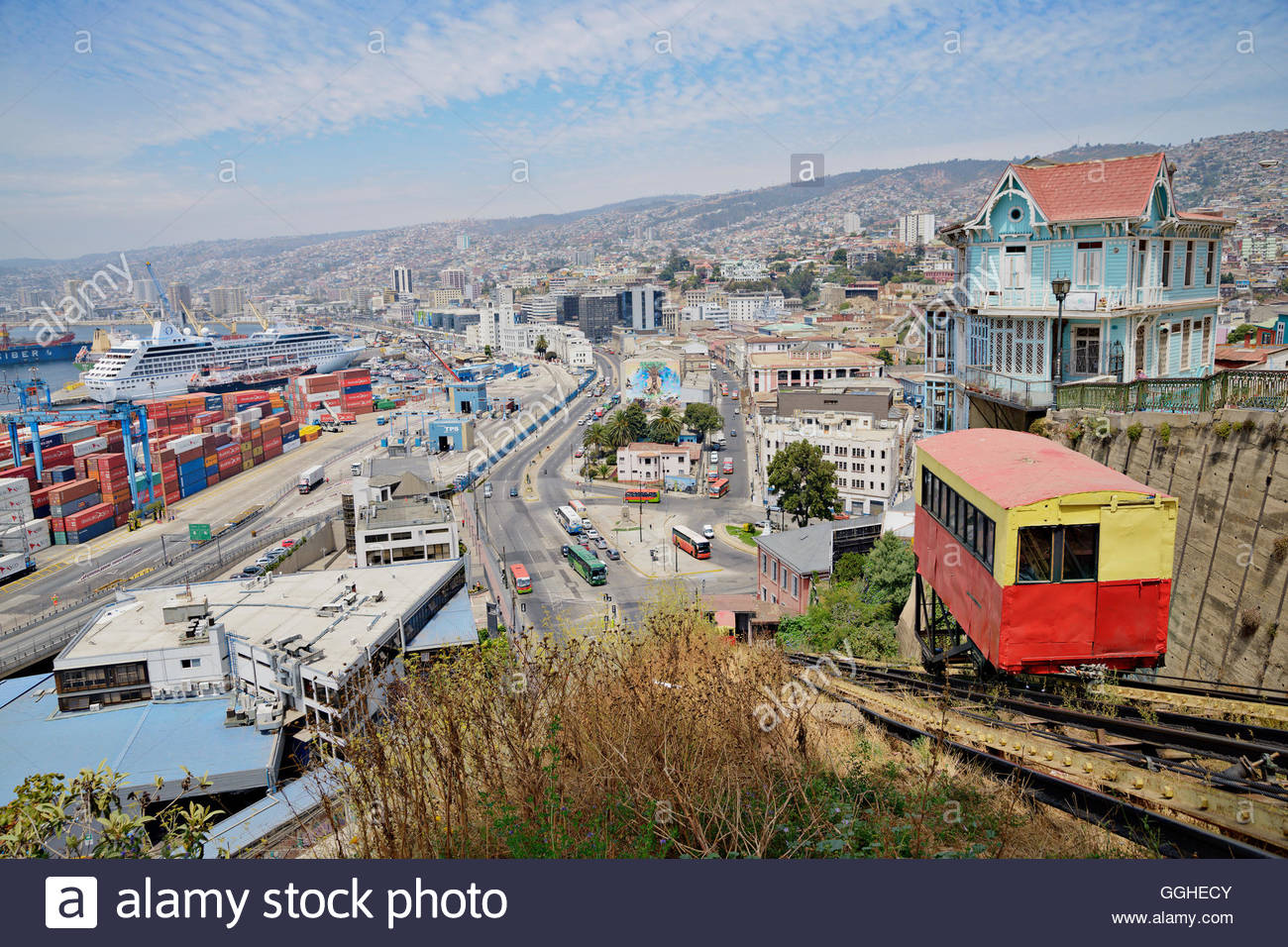 geography / travel, Chile, Valparaiso, Funicular (cliff railway) in Valparaiso., Additional-Rights-Clearance-Info - Stock Image