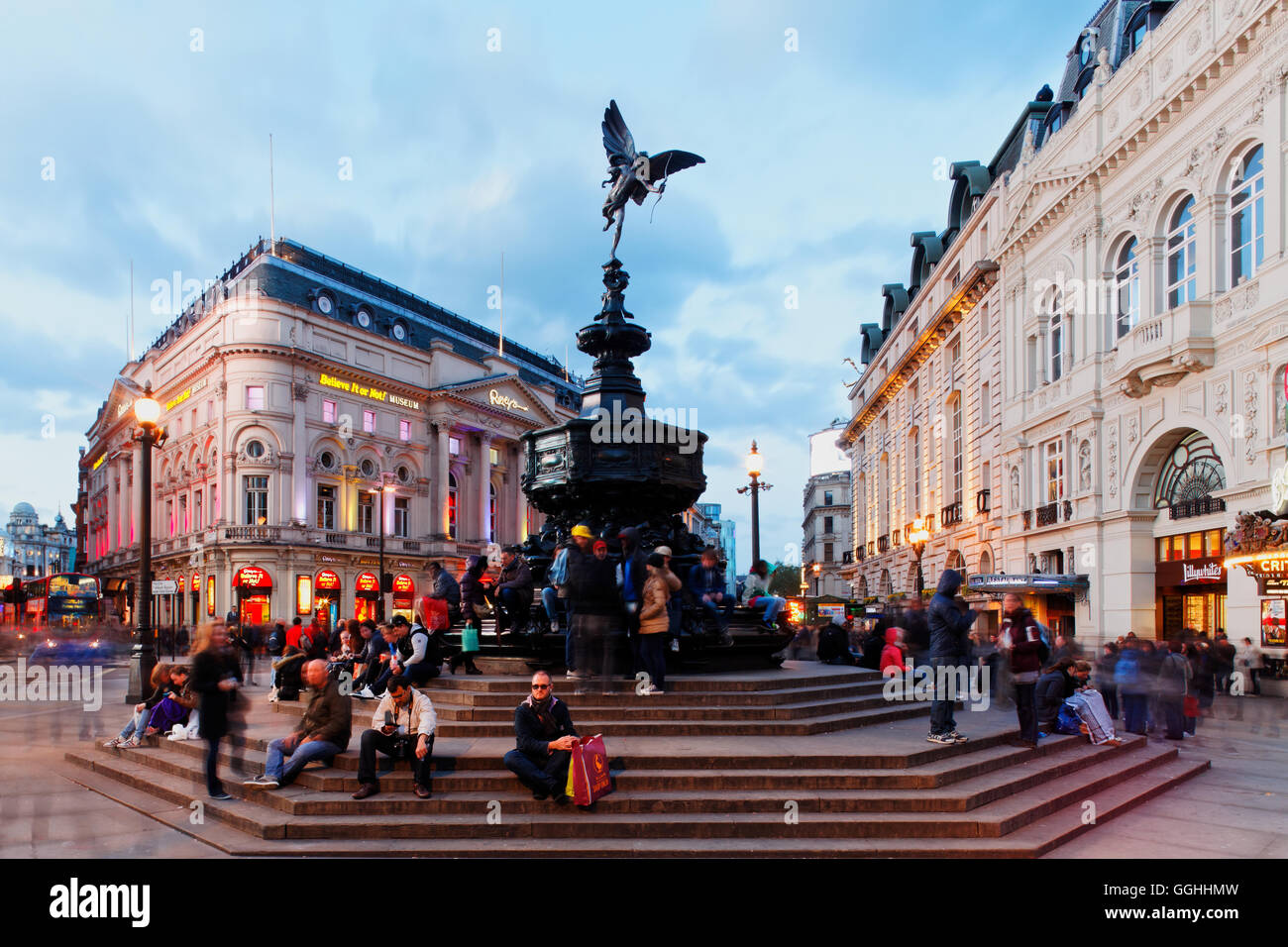 Picadilly Circus and the Eros statue, West End, London, England, United Kingdom - Stock Image
