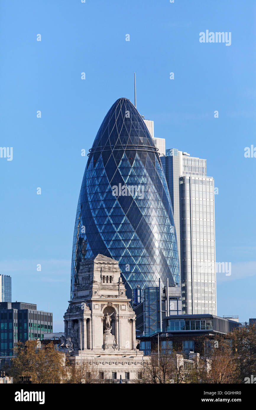 Port of London Authority Building and The Gherkin, City, London, England, United Kingdom - Stock Image