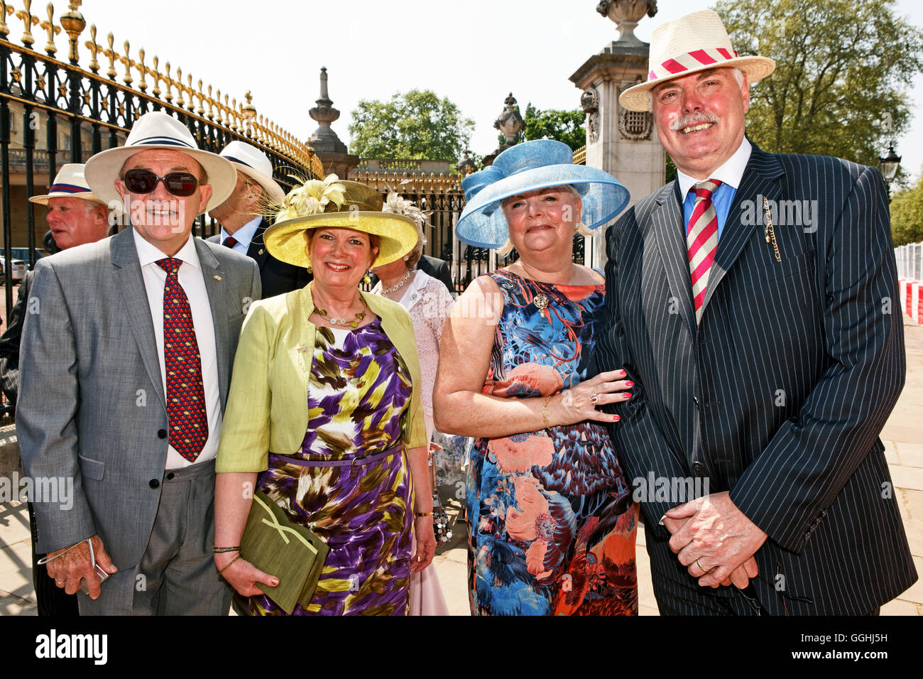 Guests of the Queens Garden Party waiting to get into the grounds of Buckingham Palace, London, England, United - Stock Image