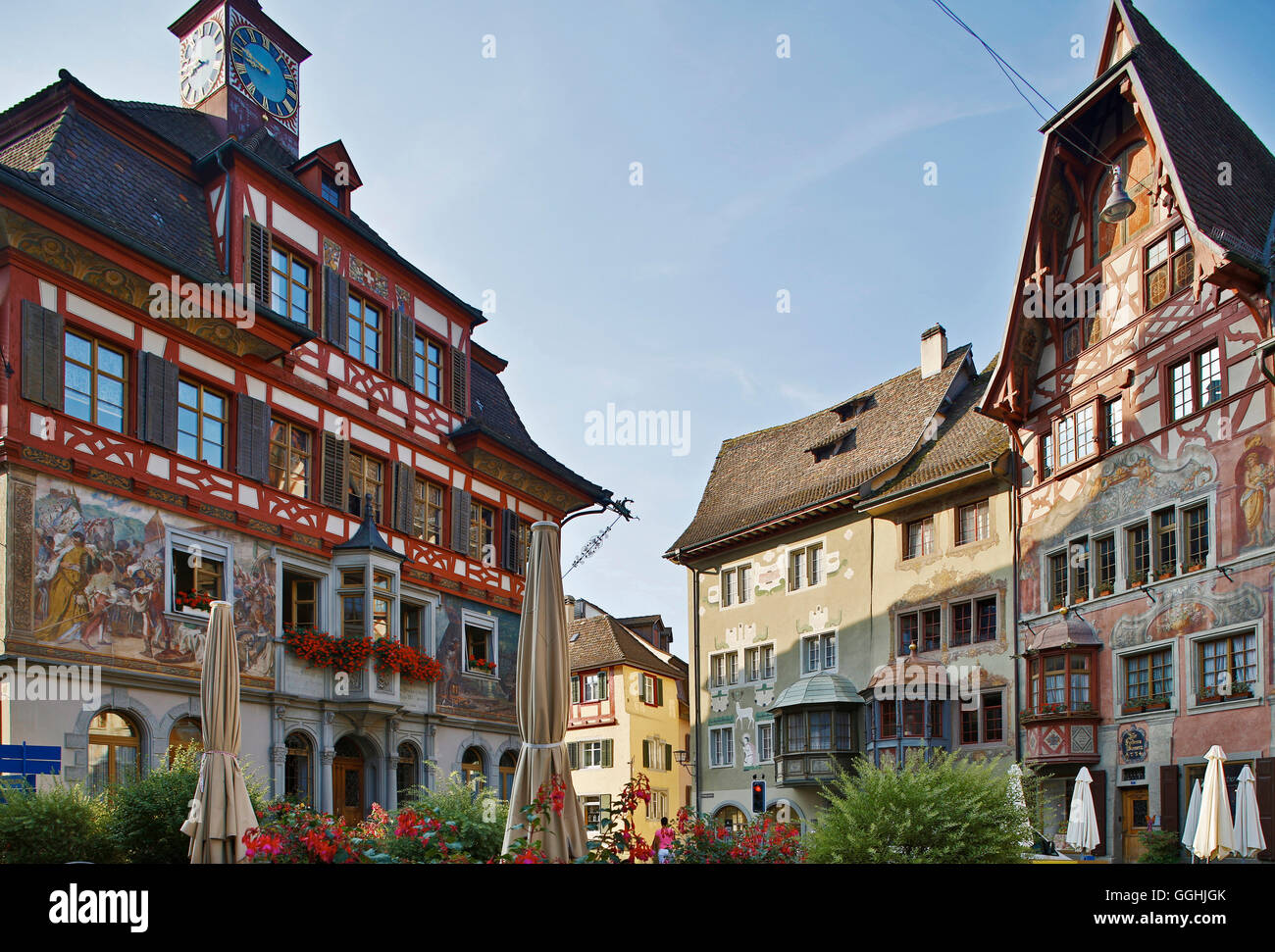 Bay windows and wall paintings on the facades of houses at Rathausplatz, Old city of Stein, Stein am Rhein, Hochrhein, - Stock Image