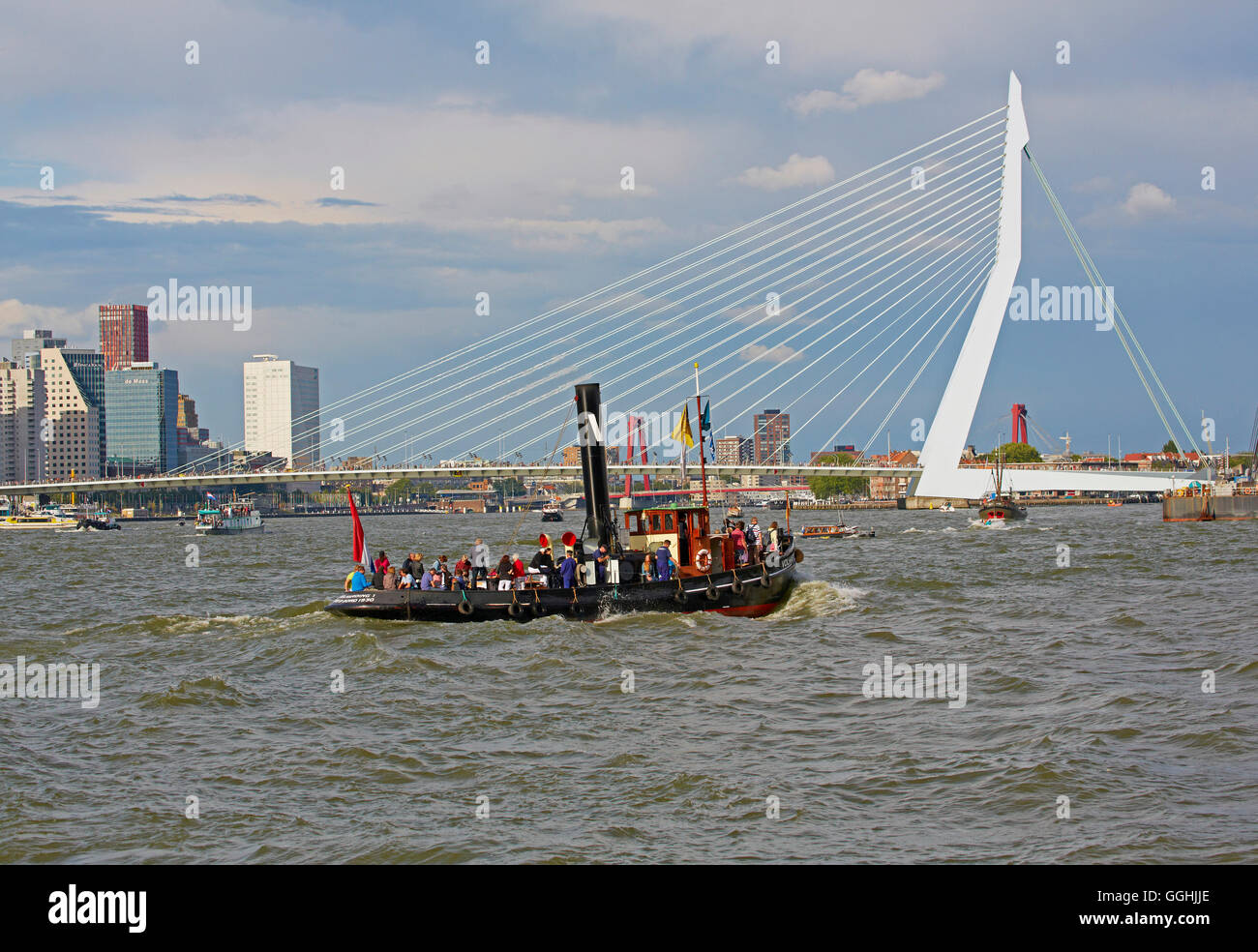 The new passenger ship Rotterdam in Rotterdam Harbour, Erasmus bridge, Province of Southern Netherlands, South Holland, - Stock Image