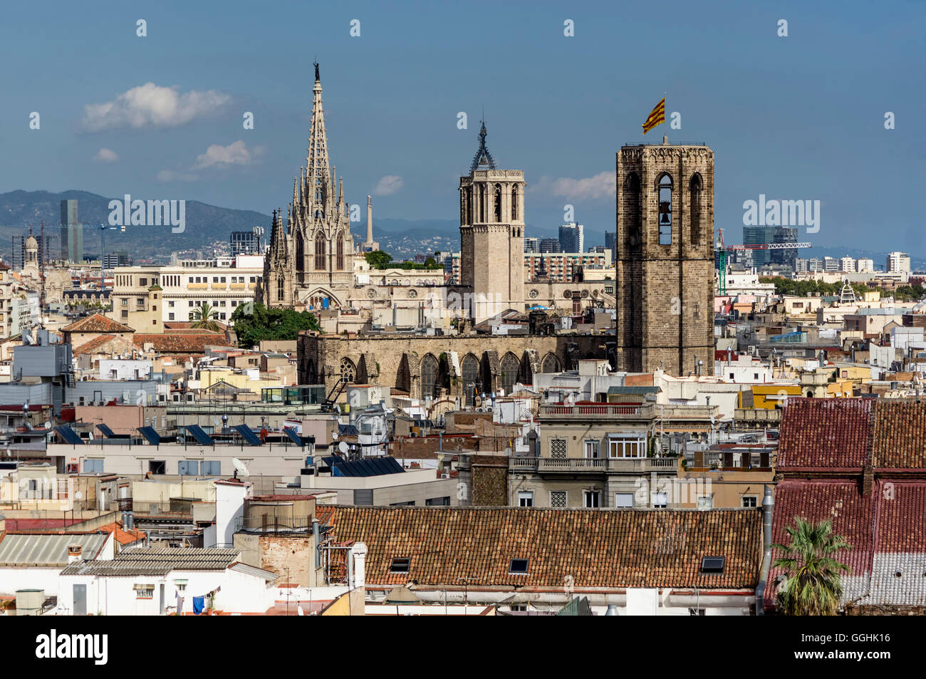 Panoramic view of the Ciutat Vella, Old city center of Barcelona, from the roof top of Barcelo Raval Hotel, Barcelona, - Stock Image