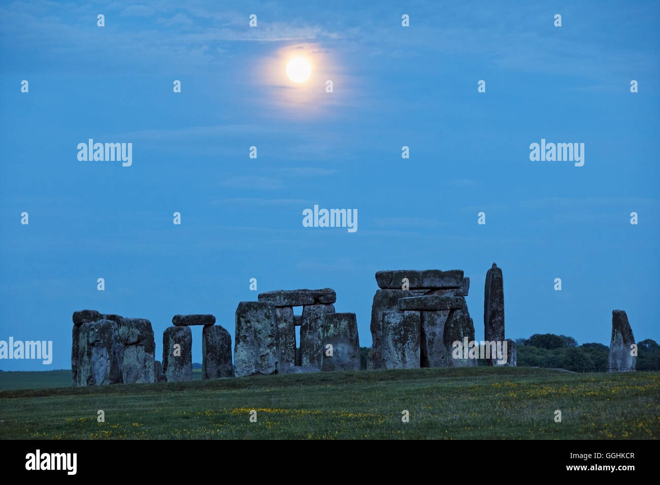 Stonehenge in the moonlight, Amesbury, Wiltshire, England, Great Britain - Stock Image