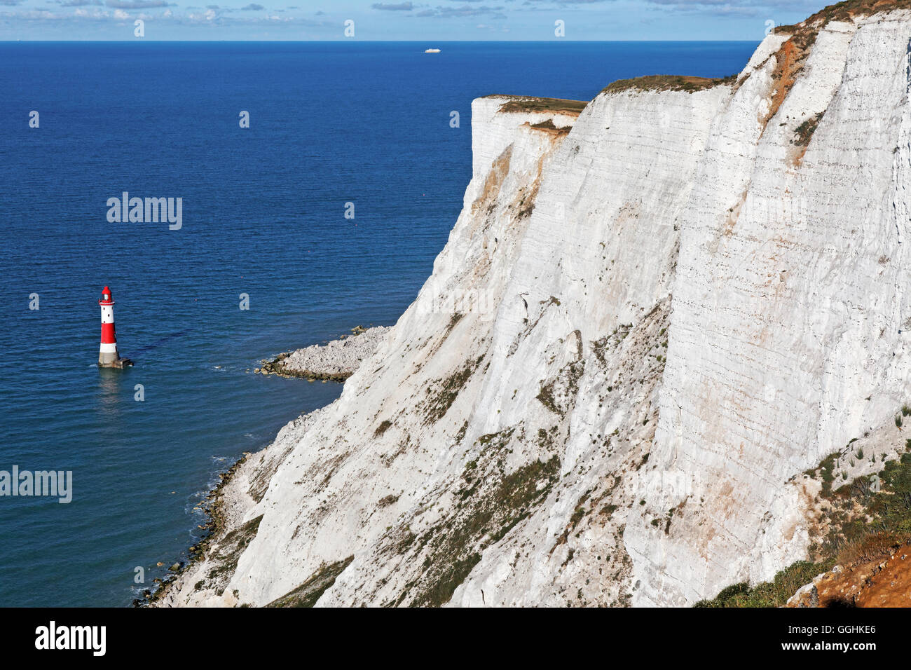 Chalk cliffs, Beachy Head, East Sussex, England, Great Britain - Stock Image