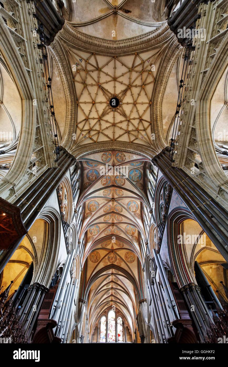 Vault, Salisbury Cathedral, Salisbury, Wiltshire, England, Great Britain - Stock Image
