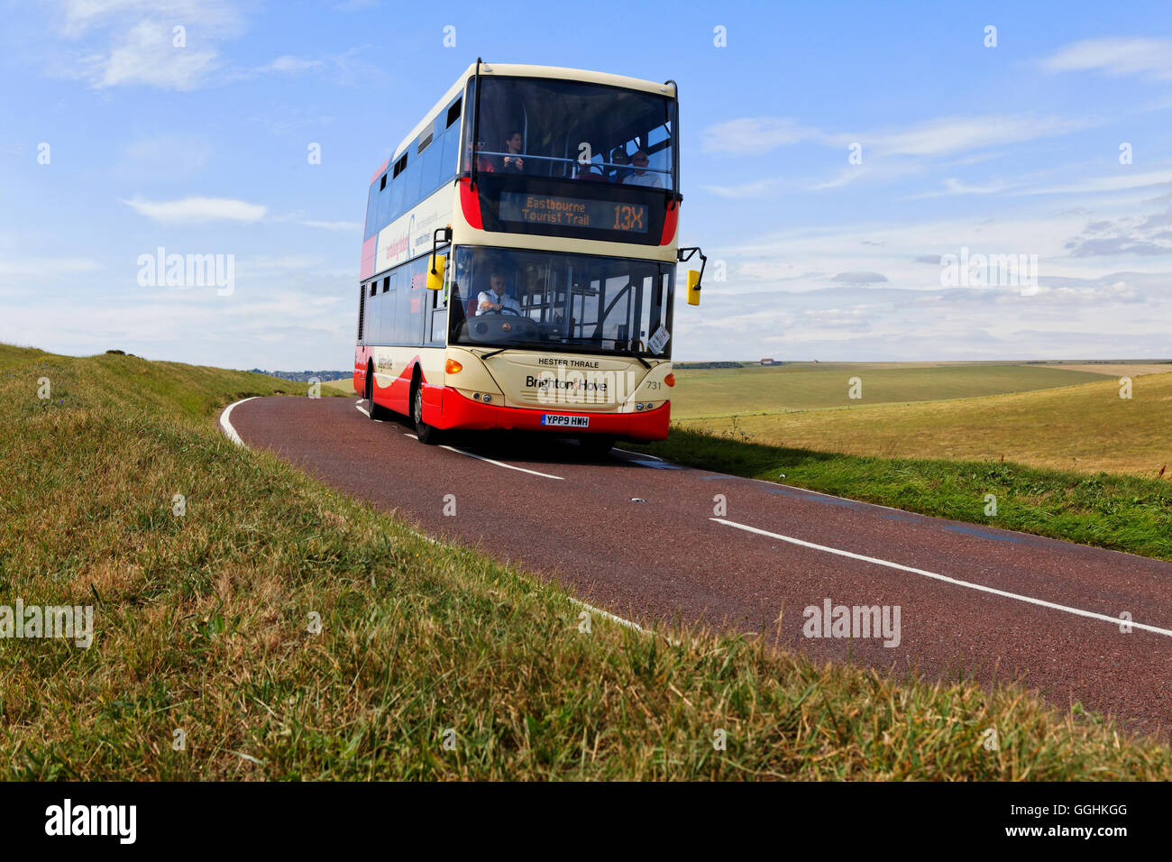 Public bus on a country road near Beachy Head, East Sussex, England, Great Britain - Stock Image
