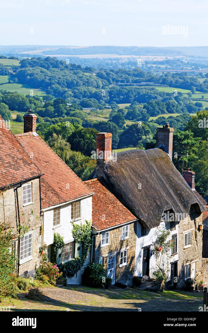 Gold Hill, Shaftesbury, Dorset, England, Great Britain - Stock Image