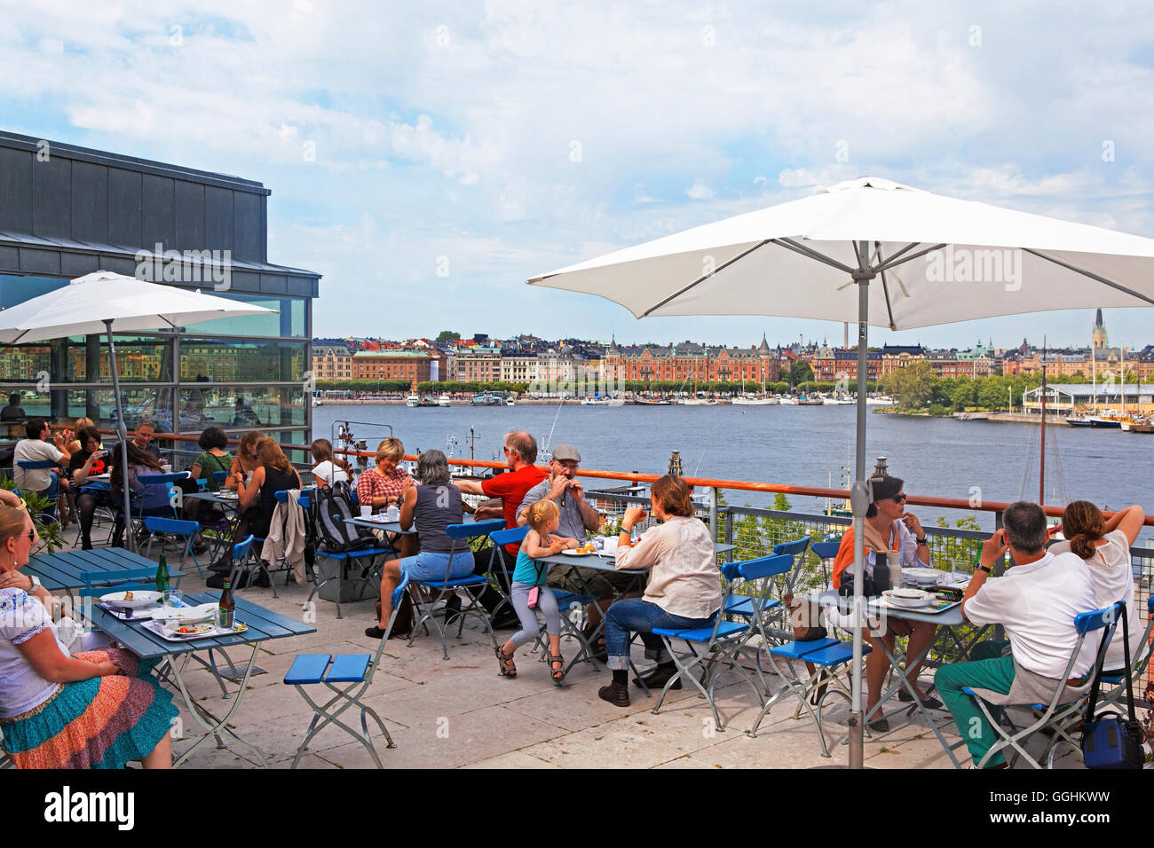 Bistro Terrace in Moderna Museet and view of the houses along Strandvaegen, Stockholm, Sweden - Stock Image