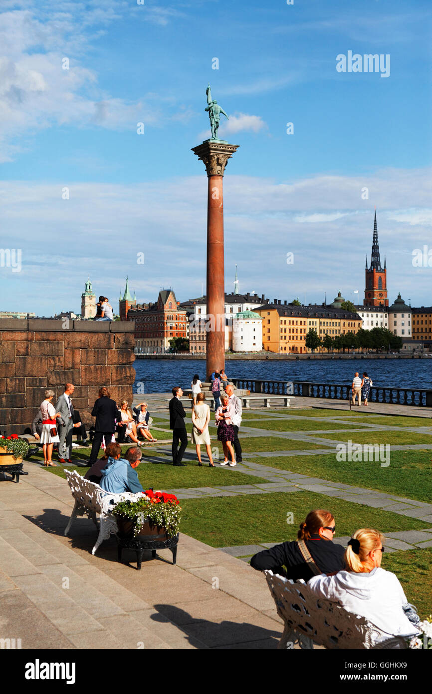Statue of Engelbrekt Engelbrektsson in the City Hall Gardens, Riddarholmen with Riddarholmen church in the background, Stock Photo