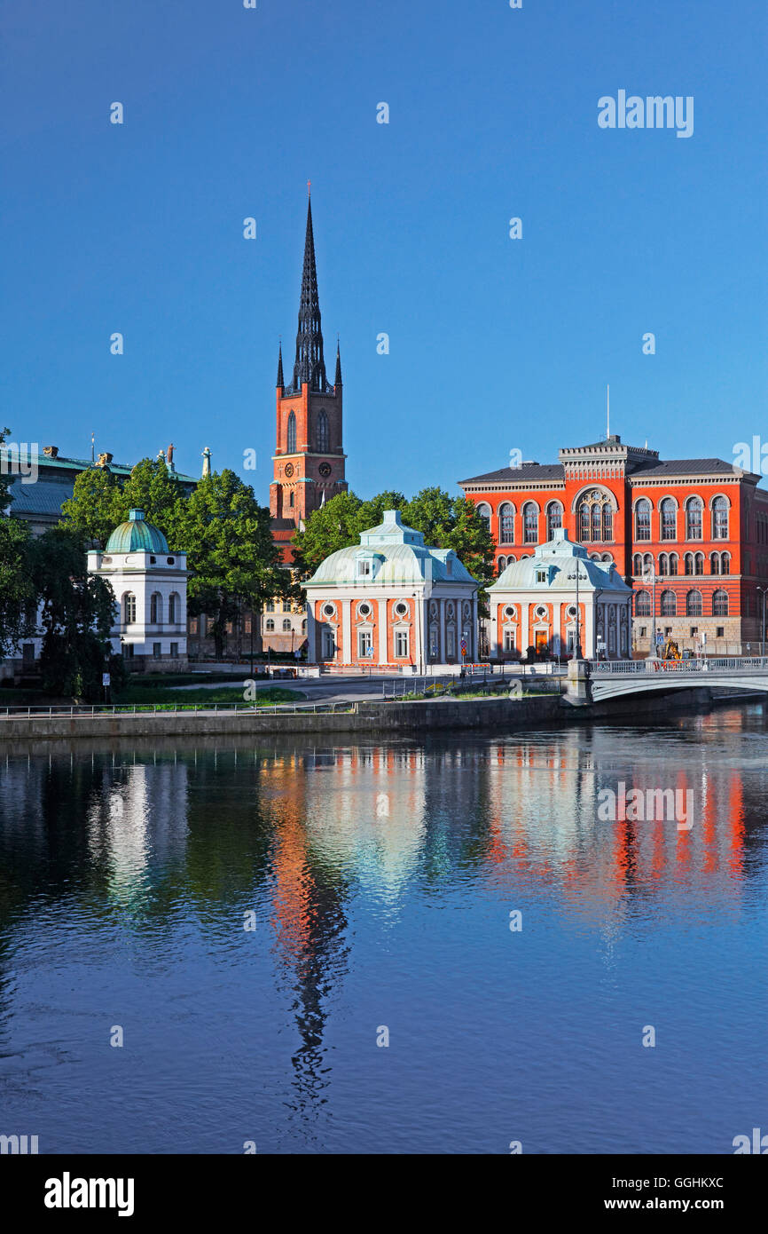 Riddarholmen and Riddarholmen church, Stockholm, Sweden - Stock Image