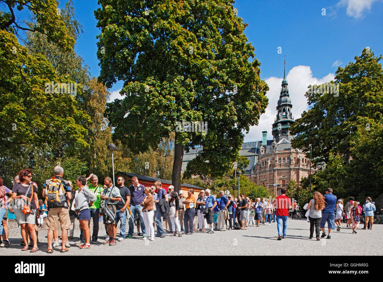 Queue at the entrance of Wasa Museum, in the background Nordiska Museum, Stockholm, Sweden - Stock Image