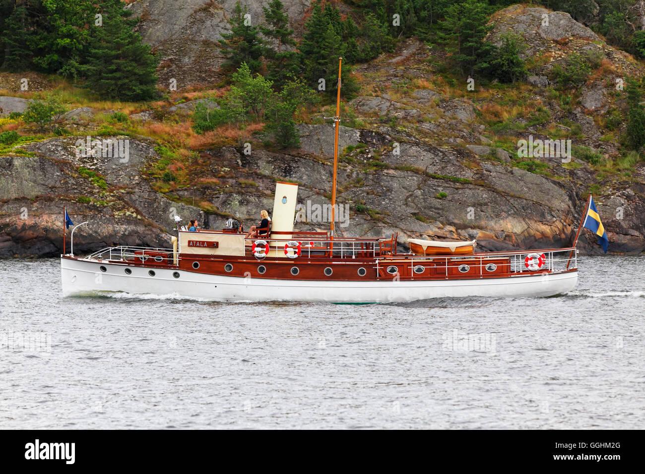 Historic boat, Saltsjoen, Stockholm, Sweden - Stock Image