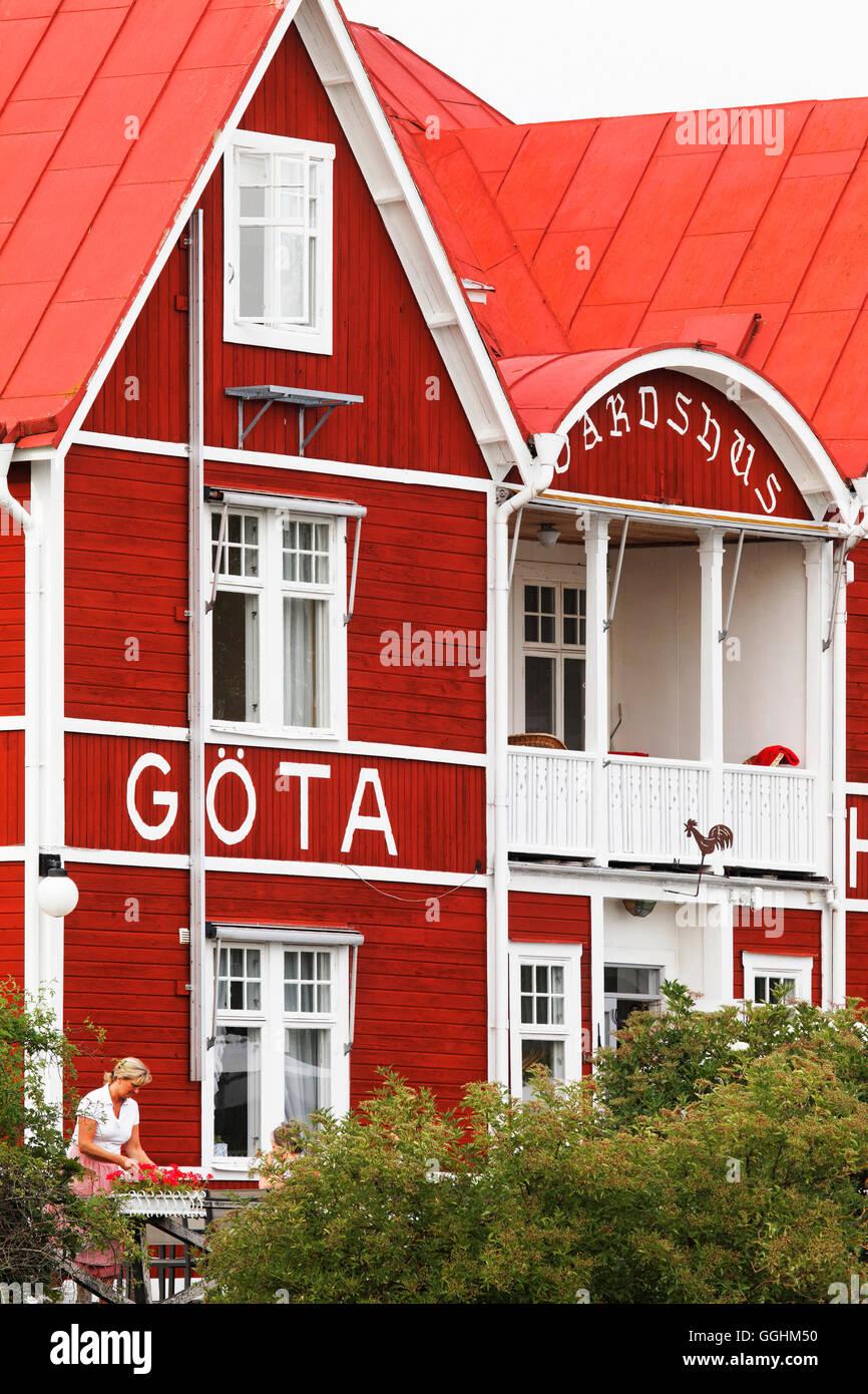Goeta Hotel and Gota canal, Borensberg, Sweden - Stock Image