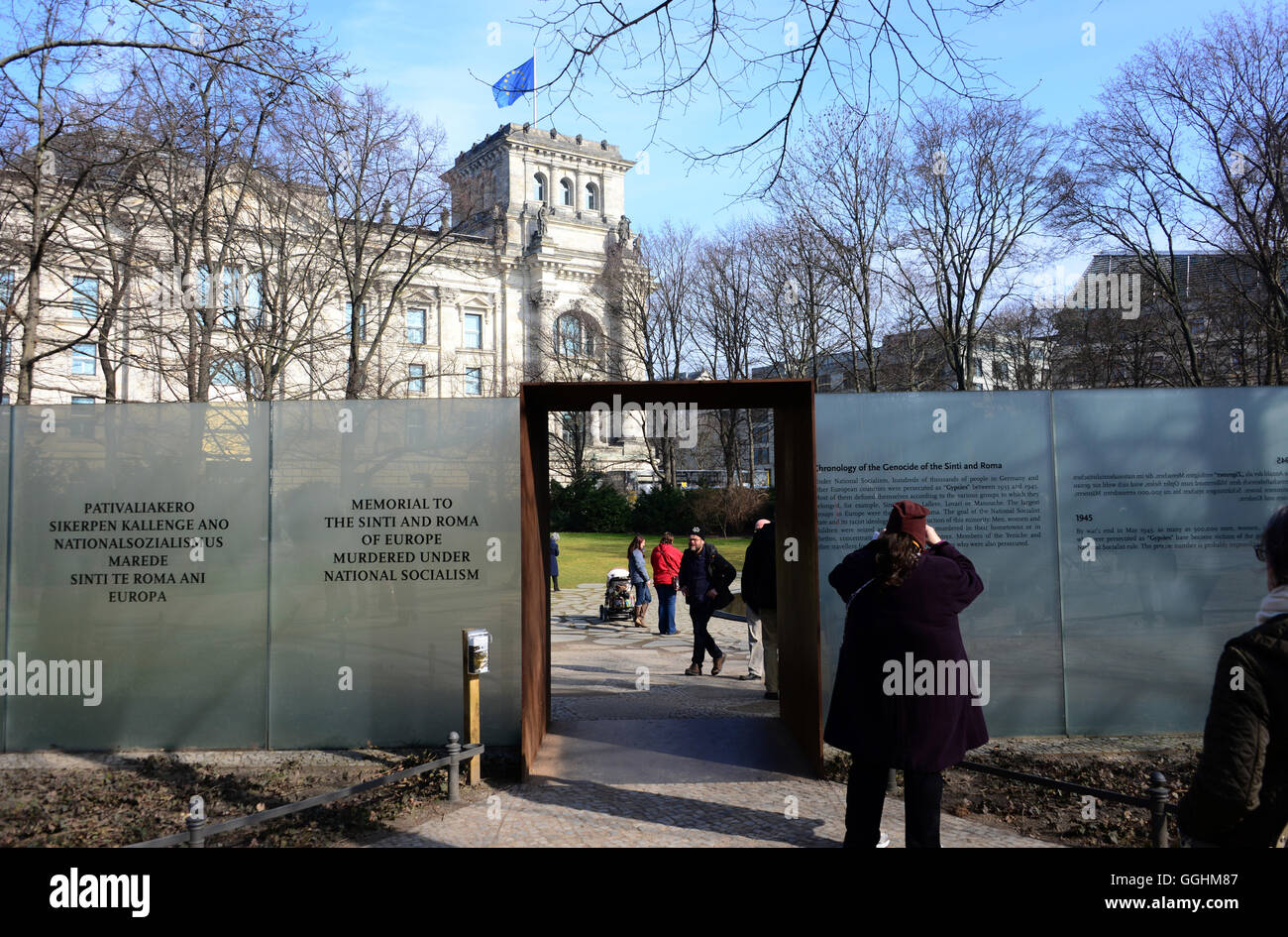 Memorial for the Sinti and Roma near the Reichstag, Berlin, Germany Stock Photo