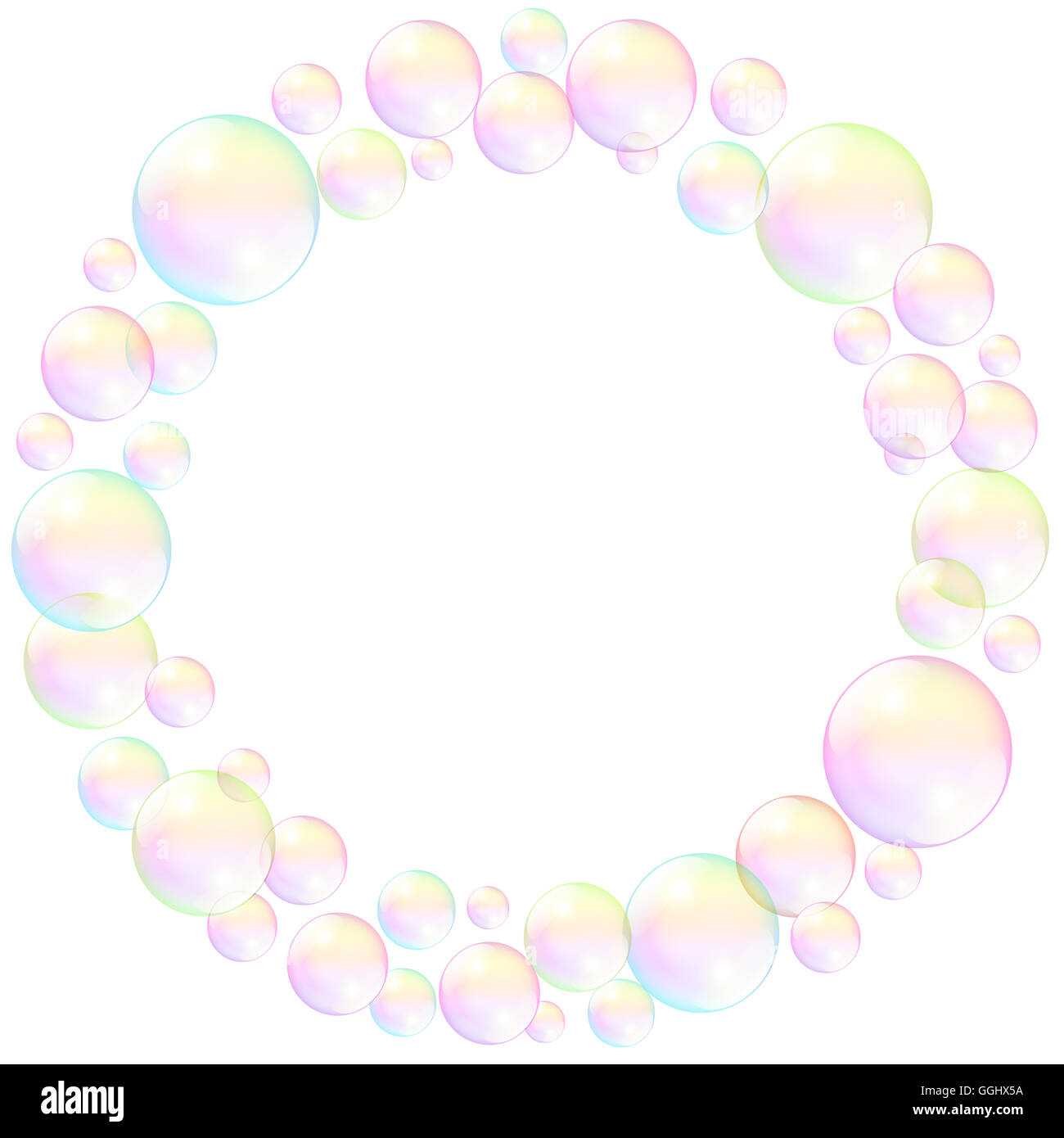Soap bubbles, circular frame, realistic three-dimensional illustration. - Stock Image