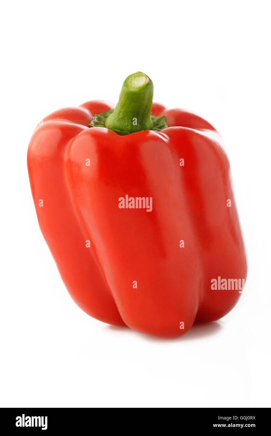 ripe red pepper isolated on white background - Stock Image