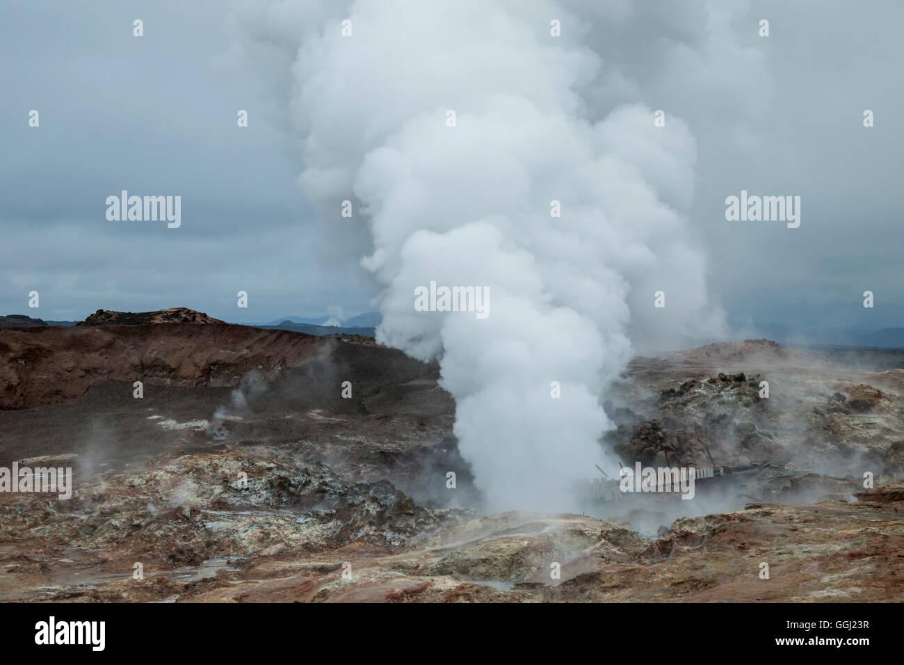 Steaming geysers near Keflavik, Iceland. - Stock Image