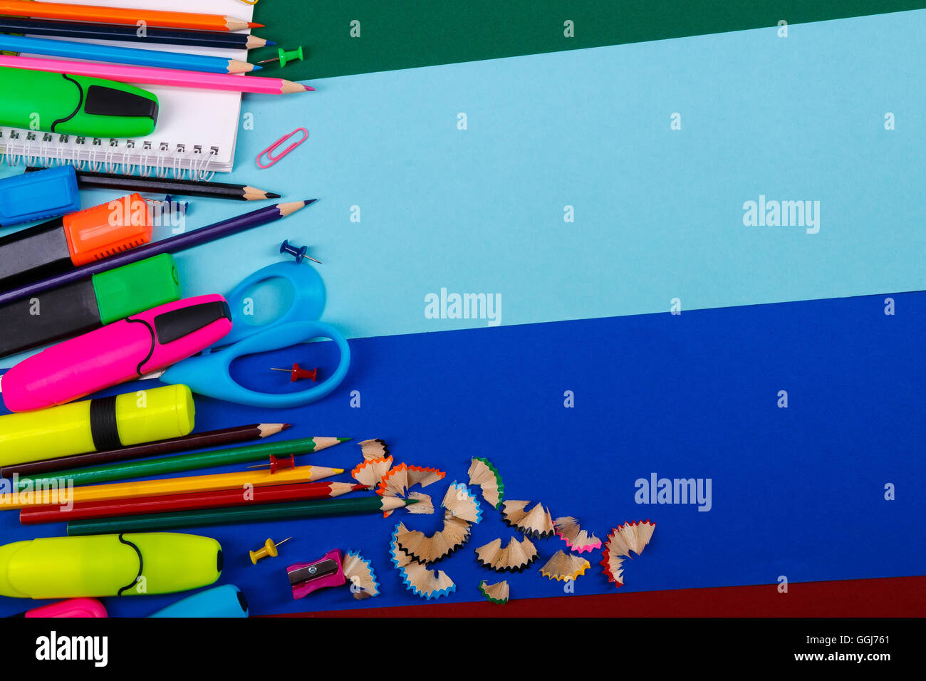 f24e3954790f School or office stationery on colorful background. Back to School. Frame