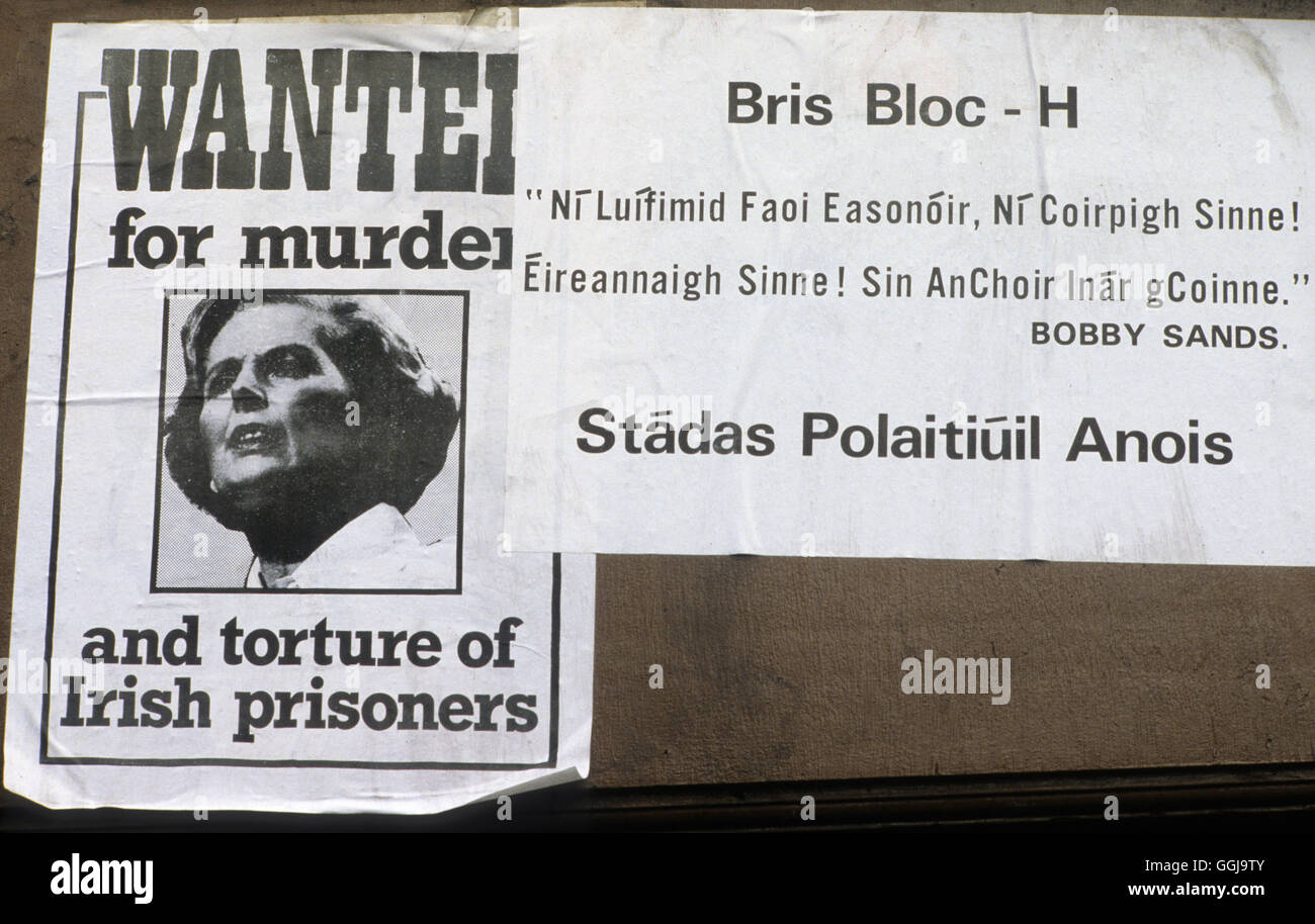 The Troubles. Margaret Thatcher wanted for murder and torture of Irish prisoners poster  1981 HOMER SYKES - Stock Image