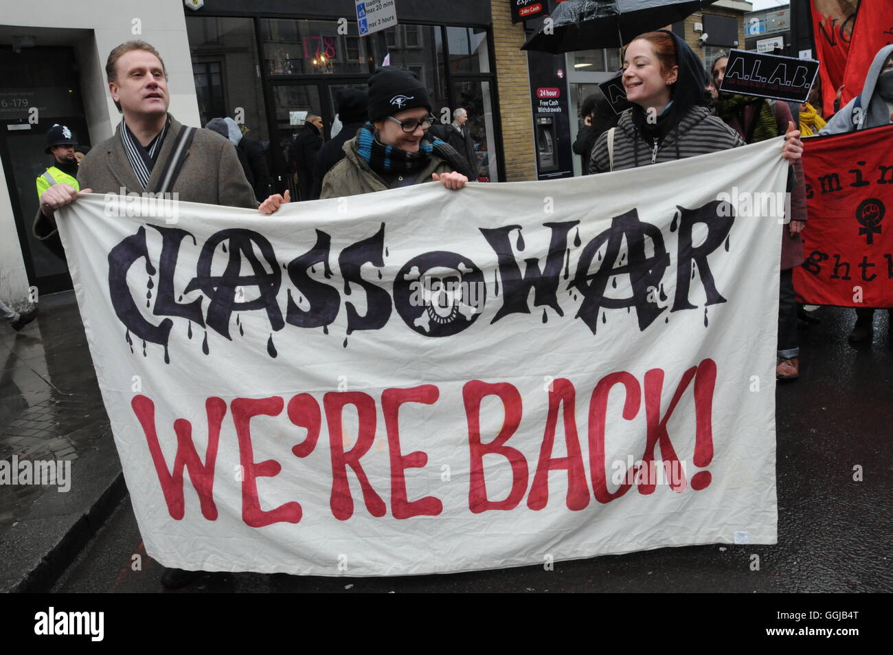 Anarchist group Class War, join the march to London's City Hall, in protest at the lack of affordable  rented - Stock Image