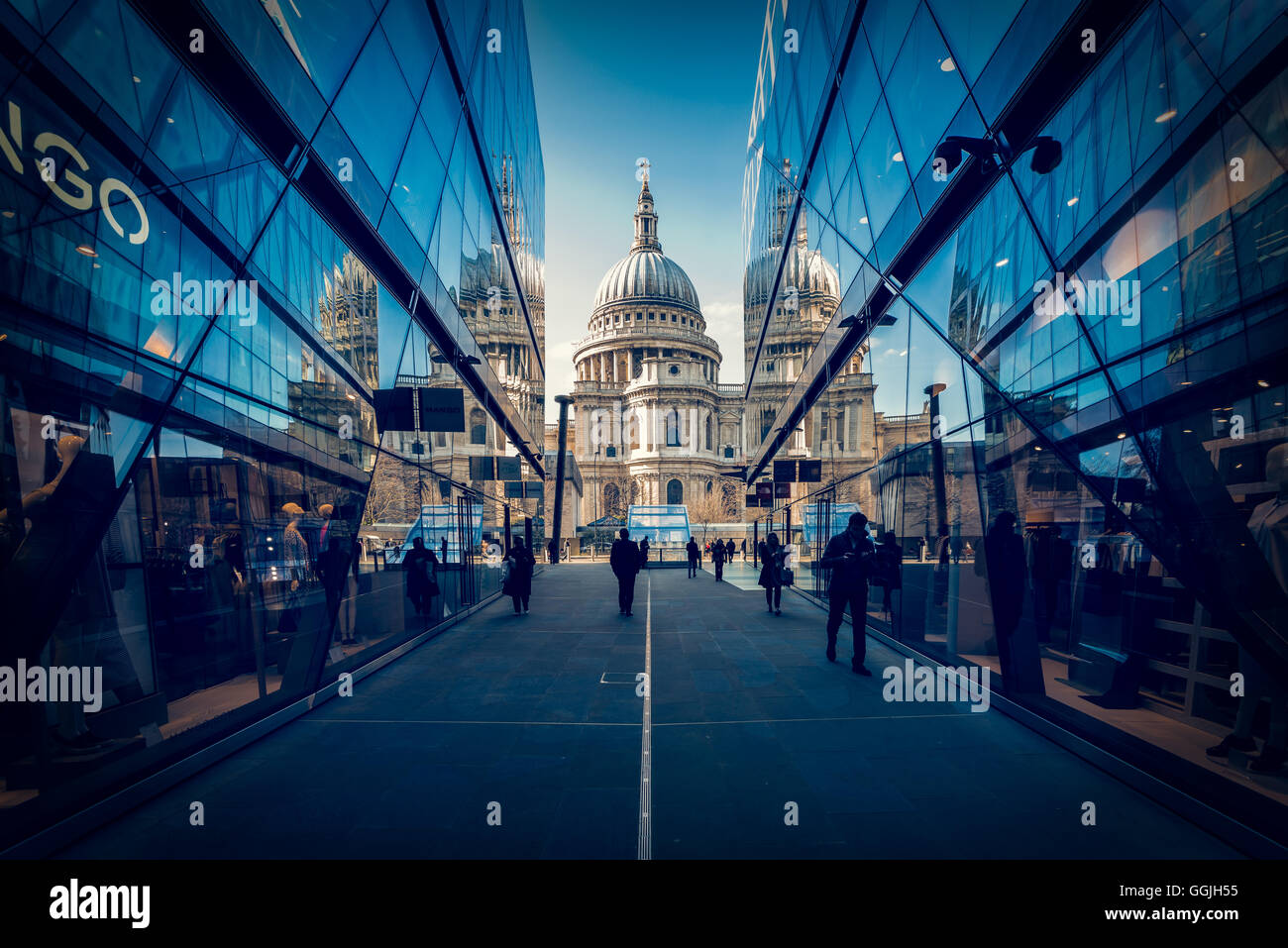 St Paul's Cathedral seen from One New Change, London, United Kingdom - Stock Image