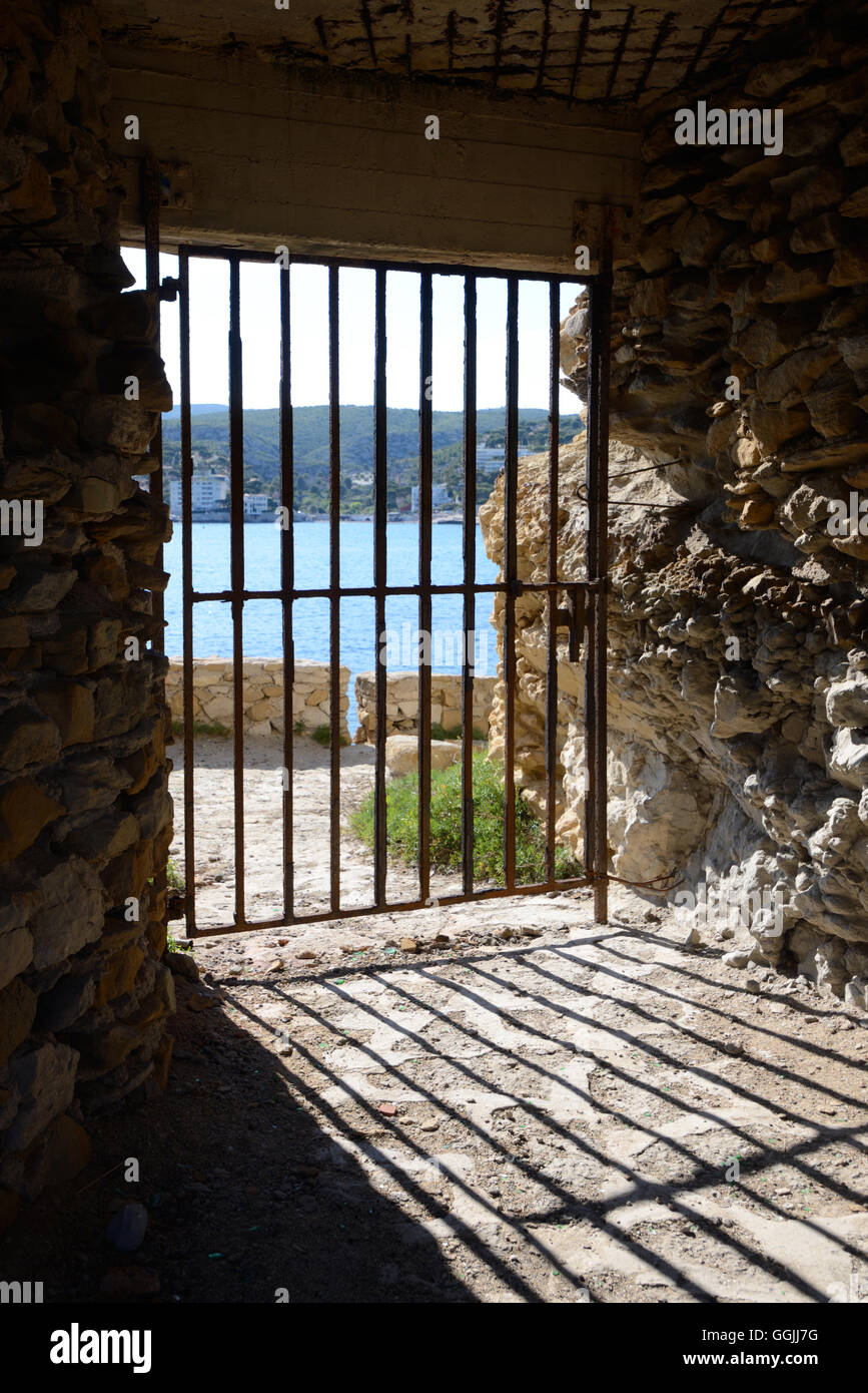 Metal Dungeon Gate or Security Grille Stock Photo