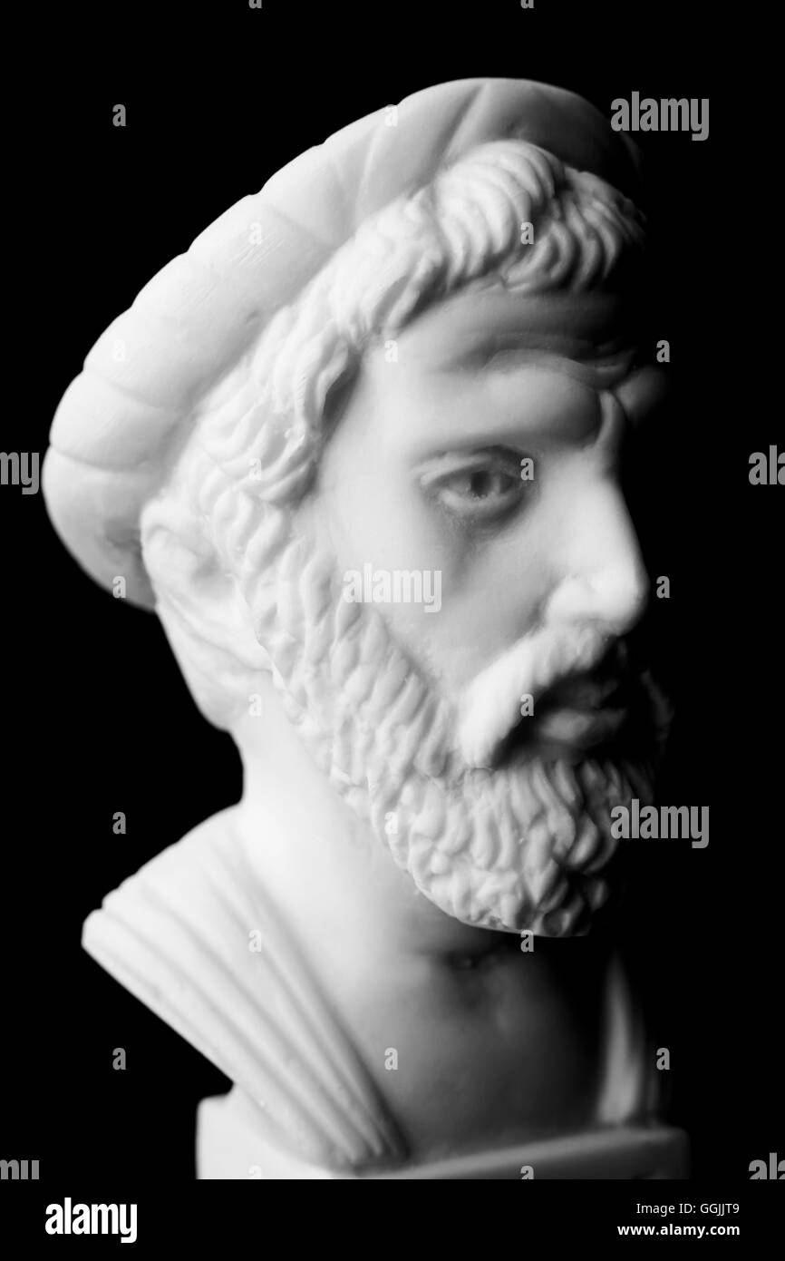 Pythagoras of Samos, was an important Greek philosopher, mathematician, geometer and music theorist.  White marble Stock Photo