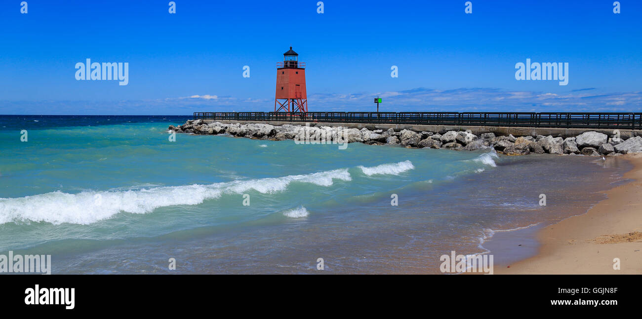 A cute little lighthouse, the Charlevoix Pier Light on Lake Michigan at Charlevoix Michigan, Lower Peninsula, USA - Stock Image