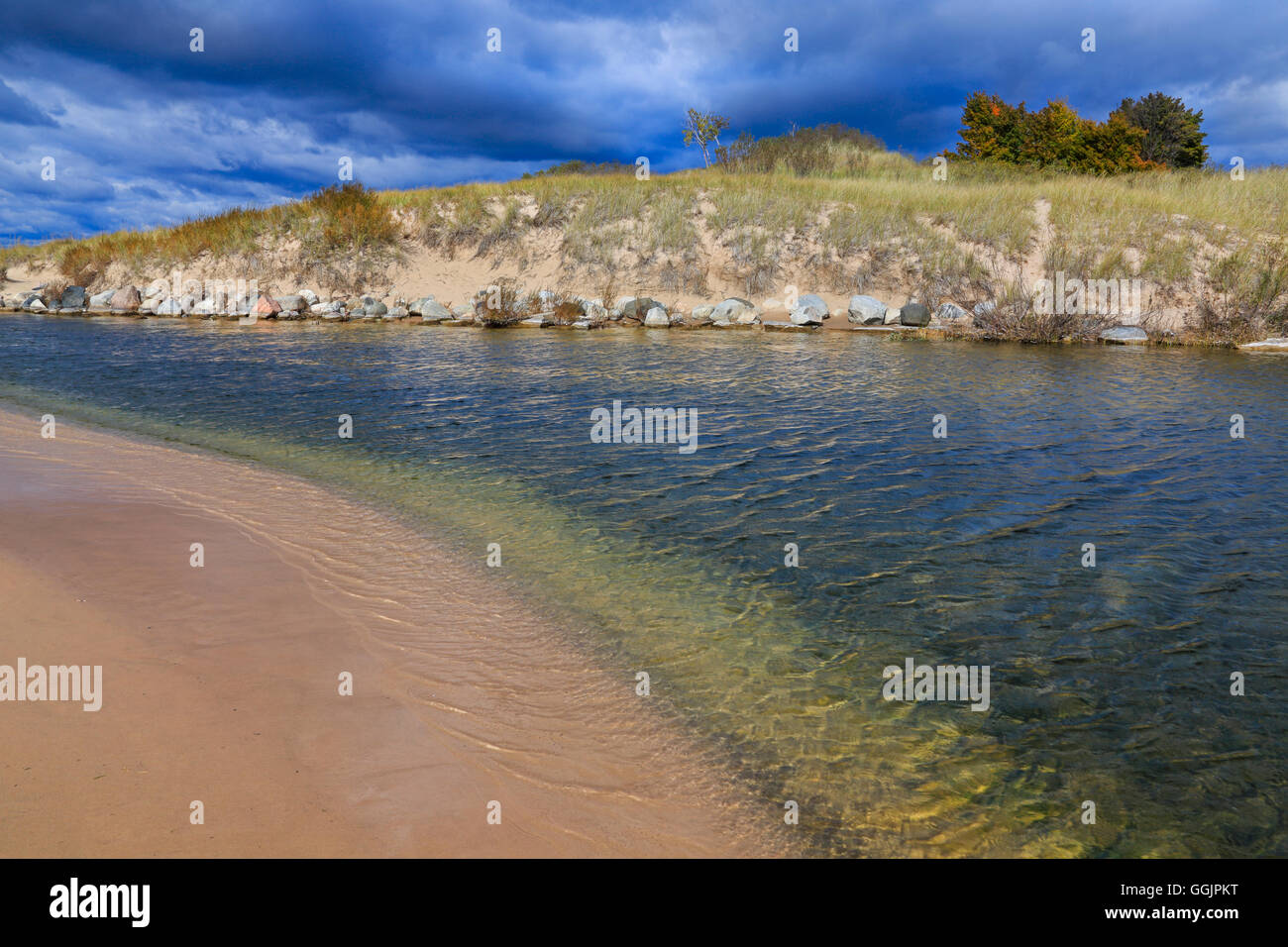 The Big Sable River as it winds toward it's destination at Lake Michigan in Ludington State Park, Ludington, Michigan, - Stock Image