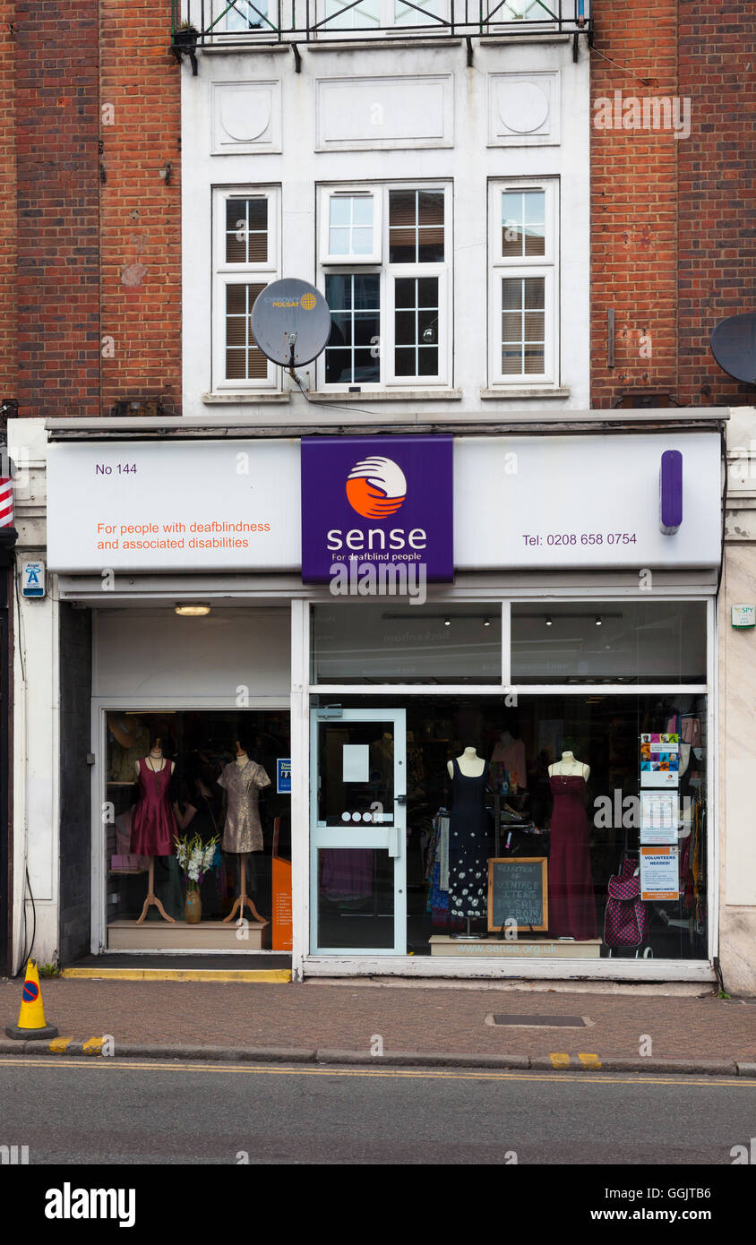 Shop front, Sense, charity shop supporting deafblindness and associated disabilities, Beckenham, Kent, UK - Stock Image