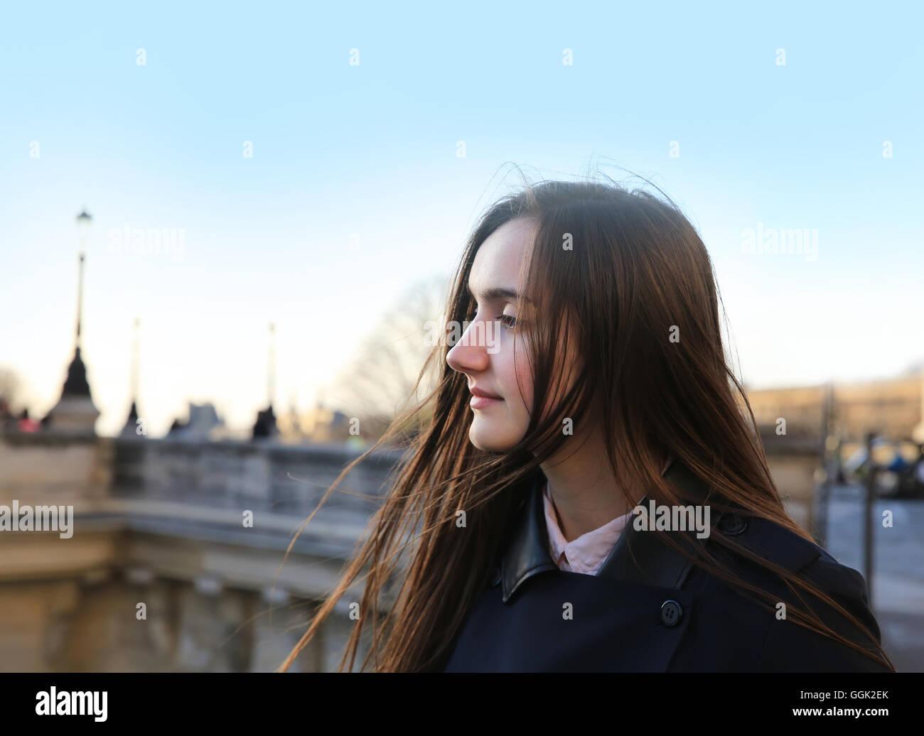 Beautiful girl enjoy in Paris, France - Stock Image