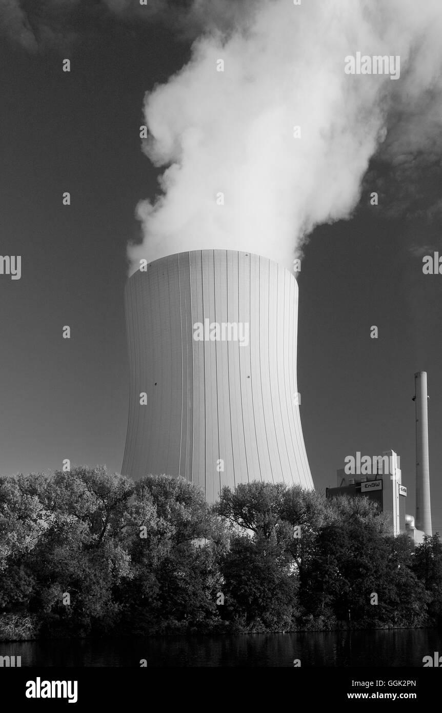 Power plant, Heilbronn, Baden-Wuerttemberg, Germany - Stock Image