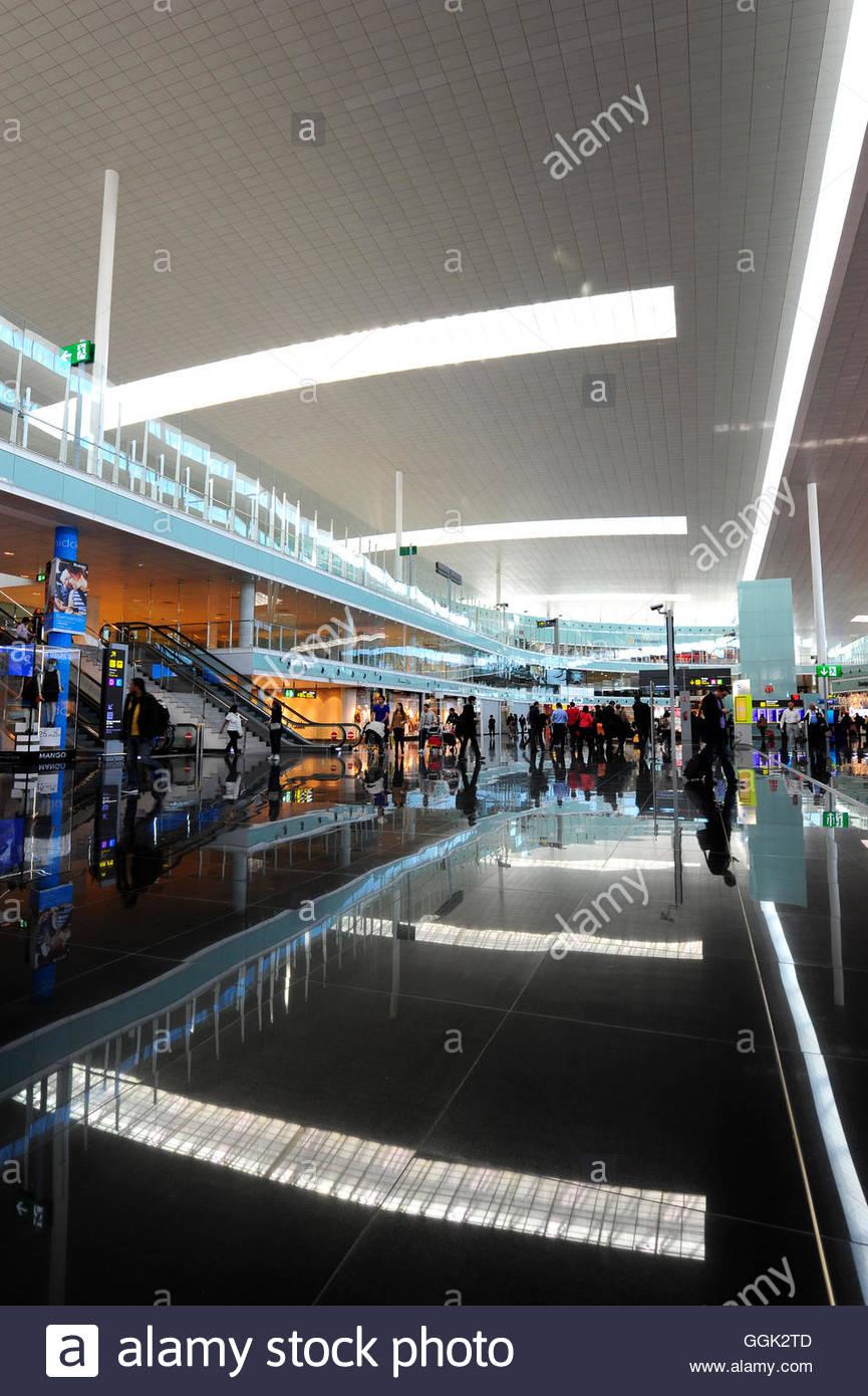 Terminal in the International Airport Barcelona-El Prat, Barcelona, Catalonia, Spain - Stock Image
