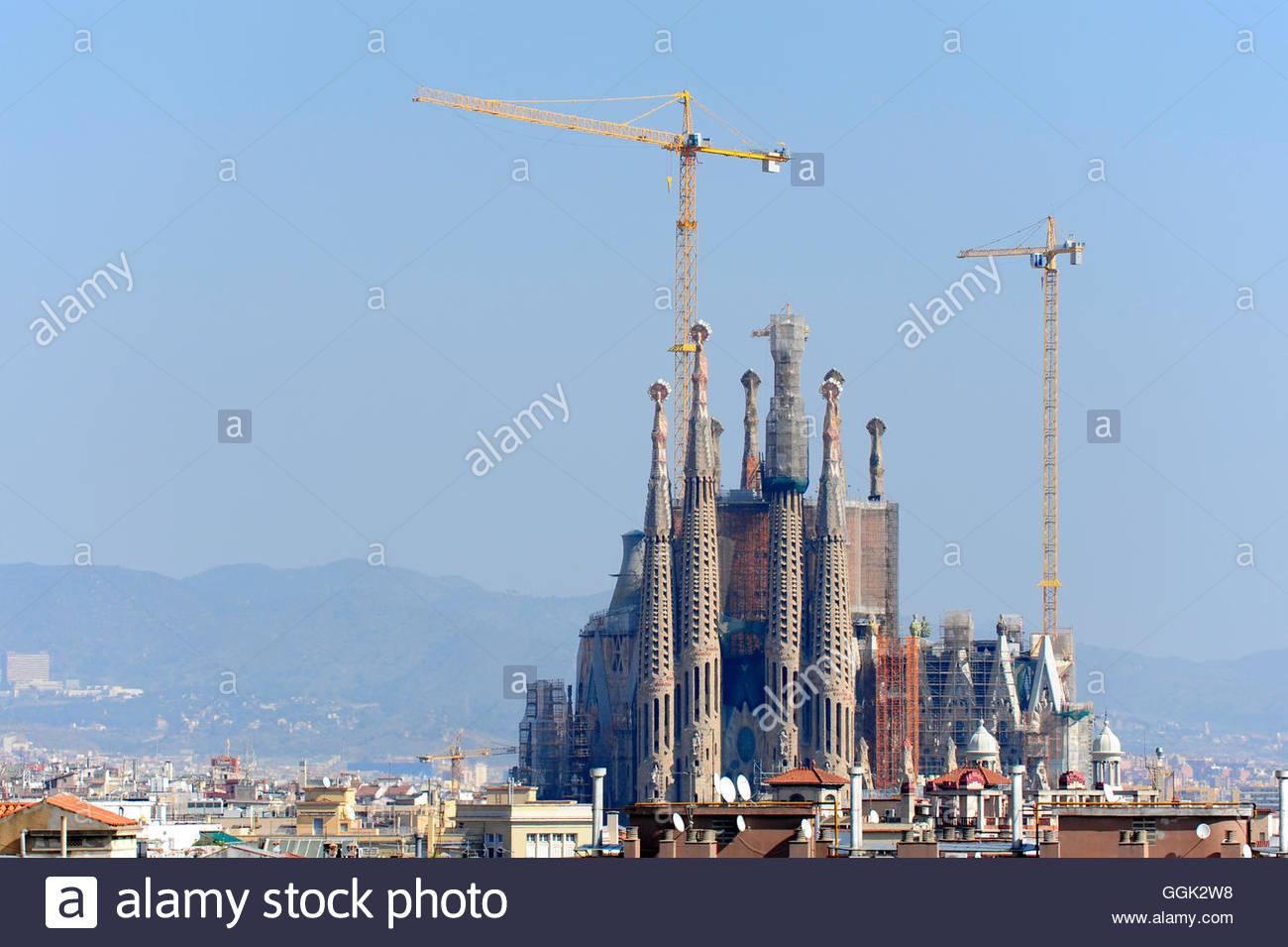 Sagrada Familia, the incomplete church by Antoni Gaudi, UNESCO World Heritage Site, Eixample, Barcelona, Catalonia, - Stock Image
