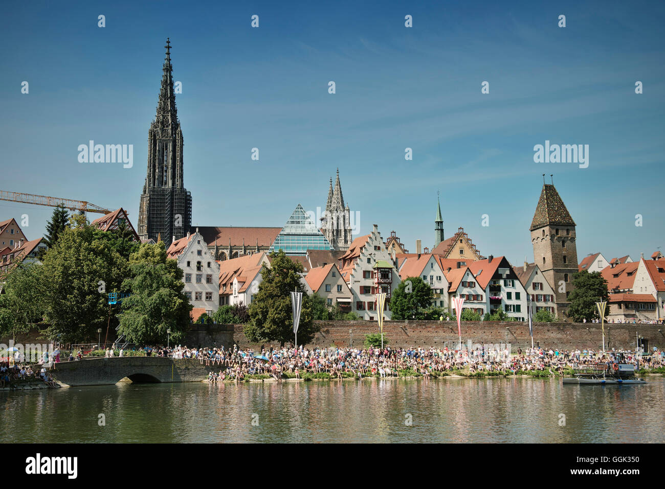 Ulm Cathedral and Metzgerturm during the Fisher Cup 2013, Ulm, Baden-Wuerttemberg, Germany - Stock Image