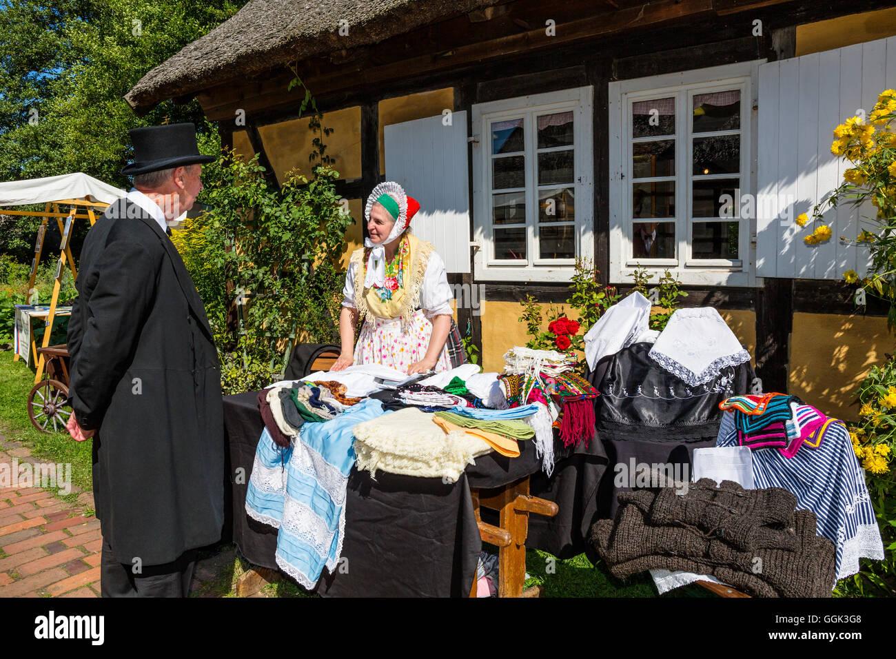 People in traditional costumes in Open Air Museum Lehde, Spreewald, UNESCO biosphere reserve, Lübbenau, Brandenburg, - Stock Image