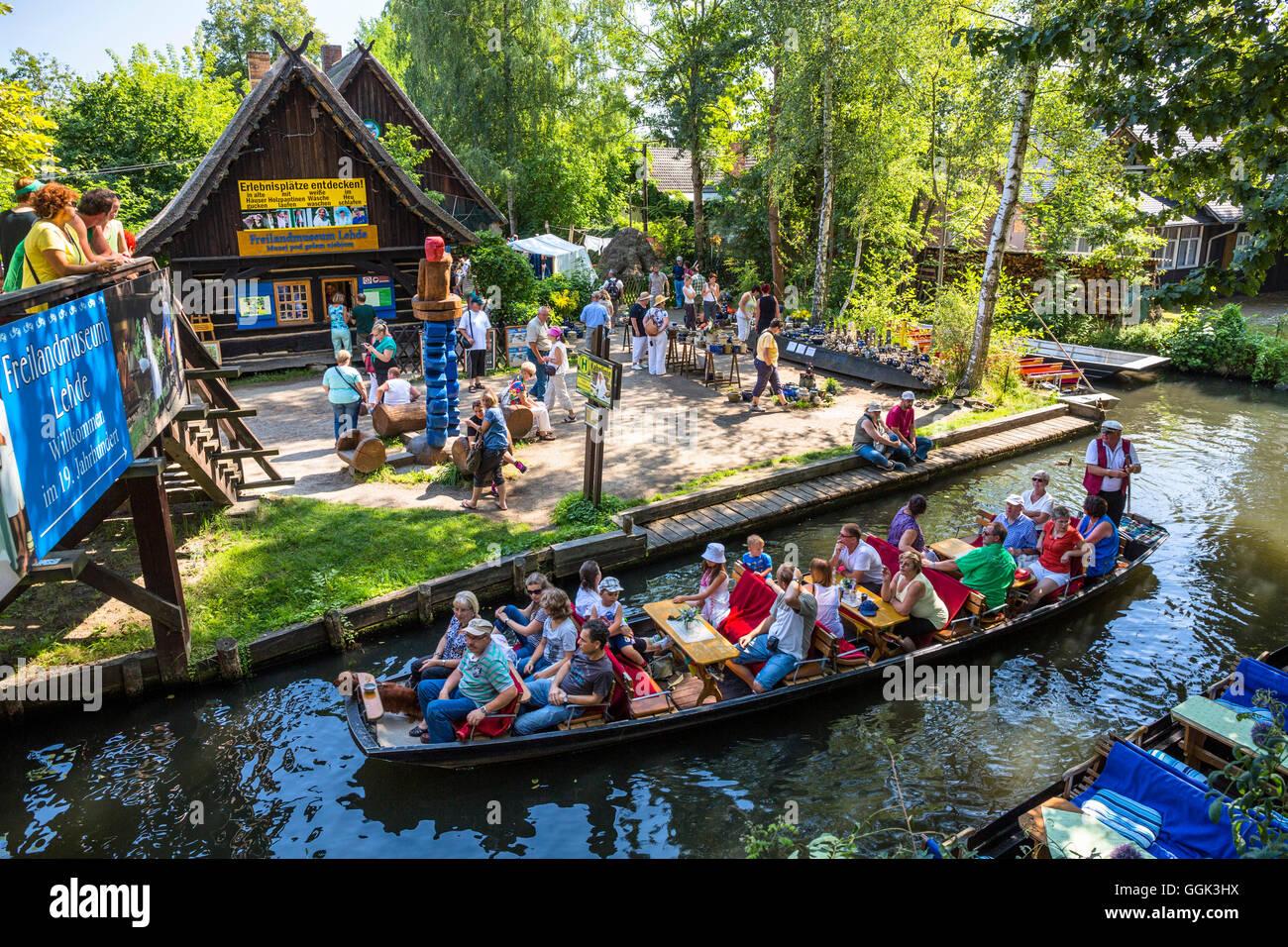 Open Air Museum Lehde, boat tour in Spreewald, UNESCO biosphere reserve, Luebbenau, Brandenburg, Germany, Europe Stock Photo