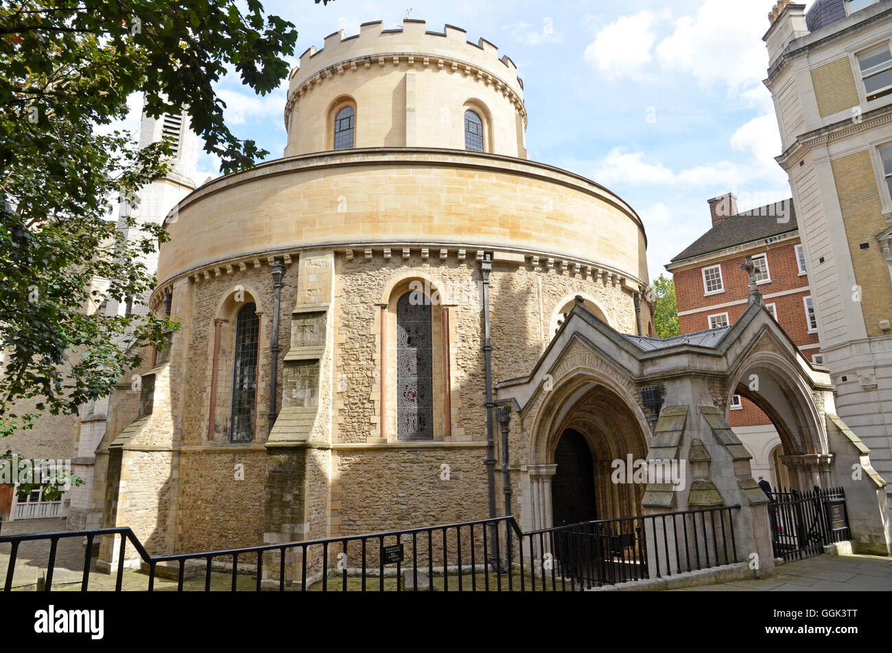 Temple Church in one of the four Inns of Court in Central London - Stock Image
