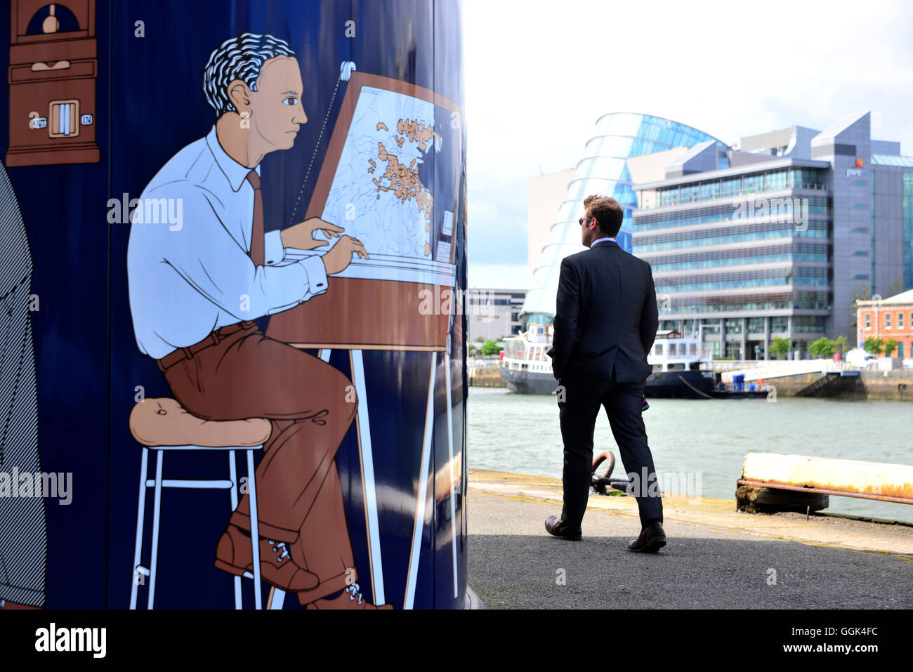 At the Liffey River, Docklands, Dublin, Ireland - Stock Image