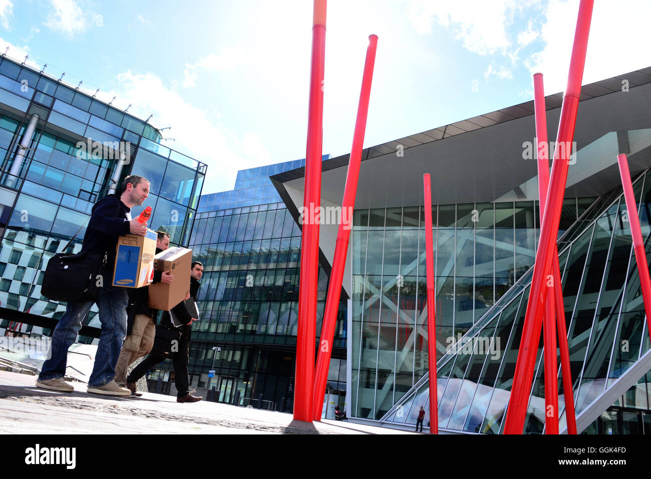 Grand Canal Theatre in the Docklands, Dublin, Ireland - Stock Image