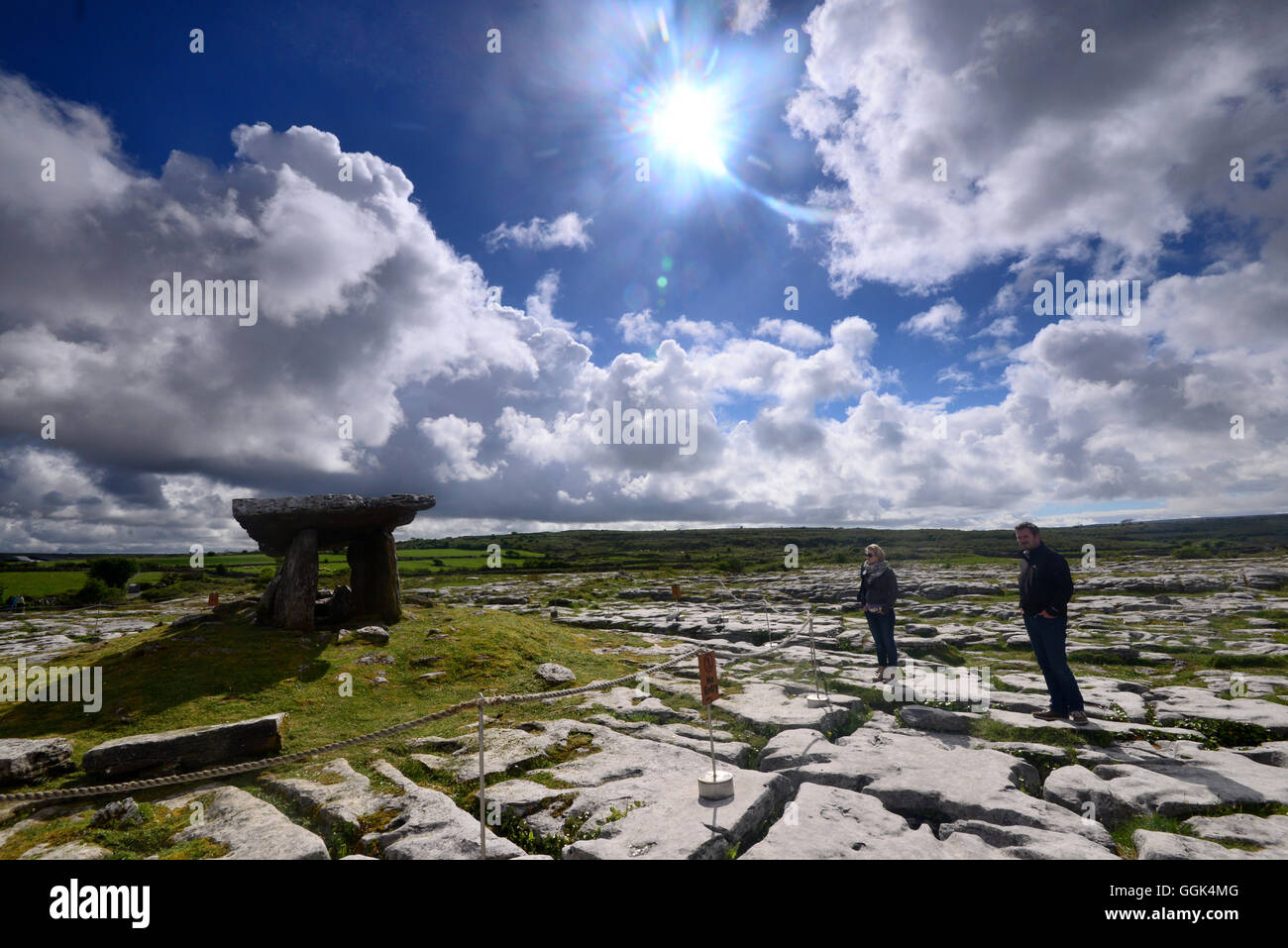 Poulnabrone Dolmen in the Burren, Clare, West coast, Ireland - Stock Image