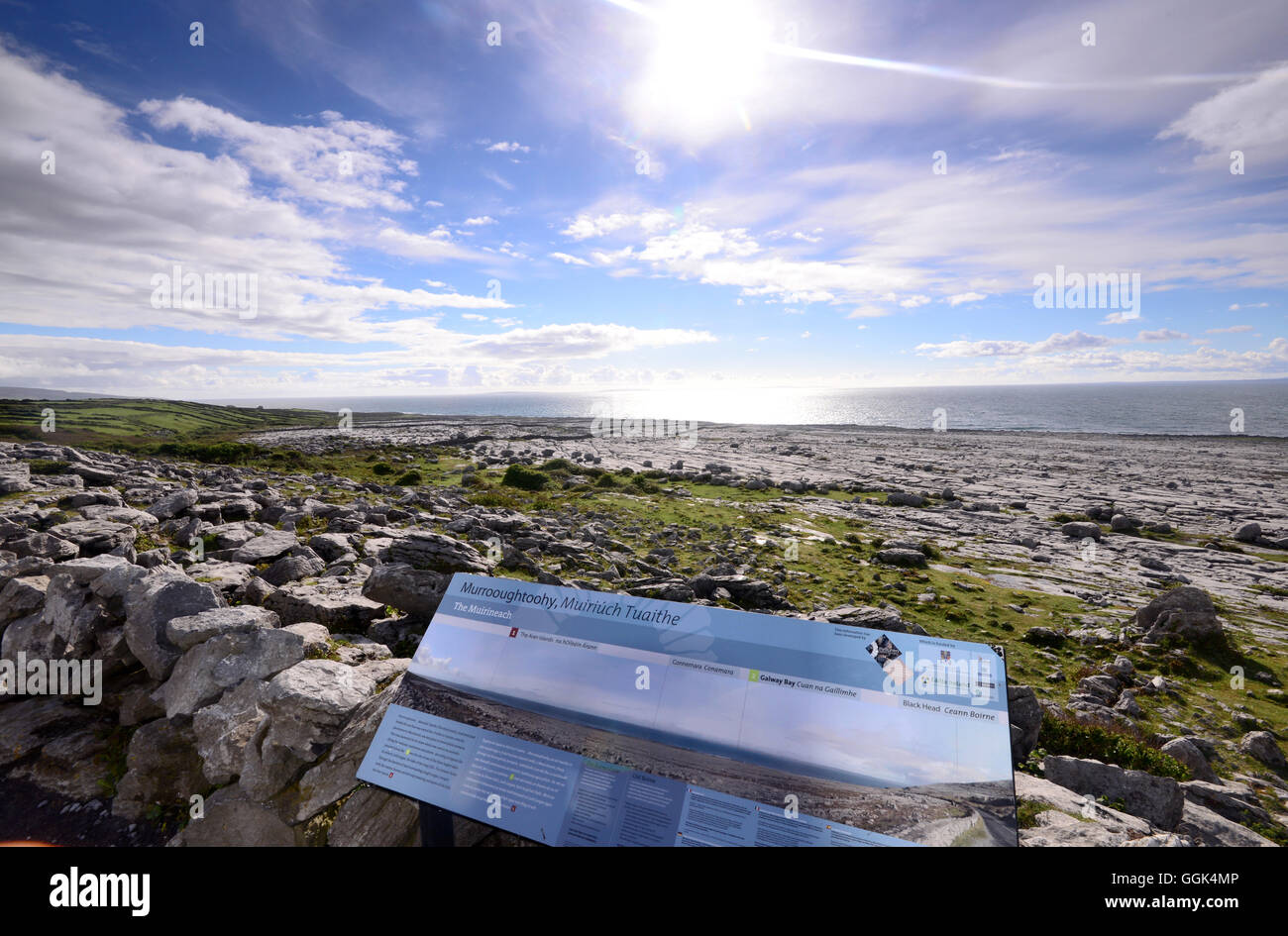 Coast at Black Head with the Burren, Clare, West coast, Ireland - Stock Image