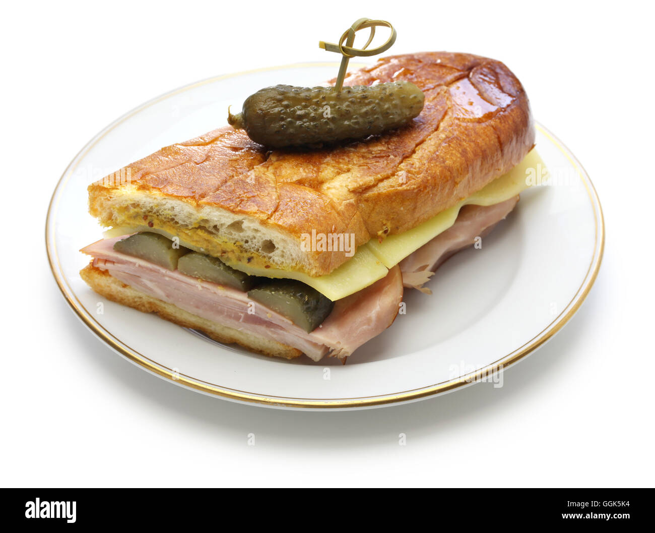 cuban sandwich, cuban mix, ham and cheese pressed sandwich isolated on white background - Stock Image