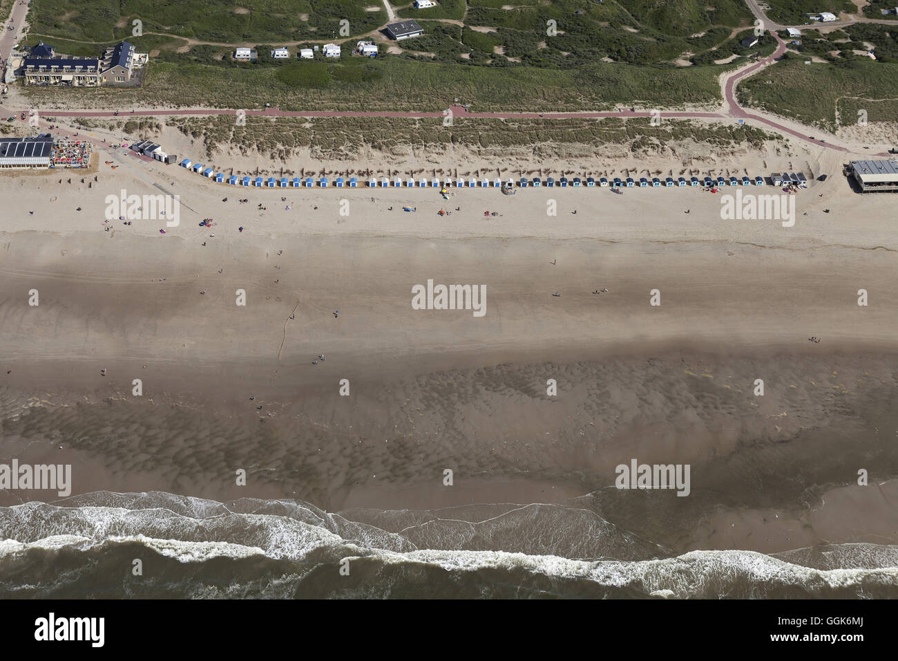 Aerial view of beach huts on the North Sea, Texel Island, North Holland, The Netherlands - Stock Image