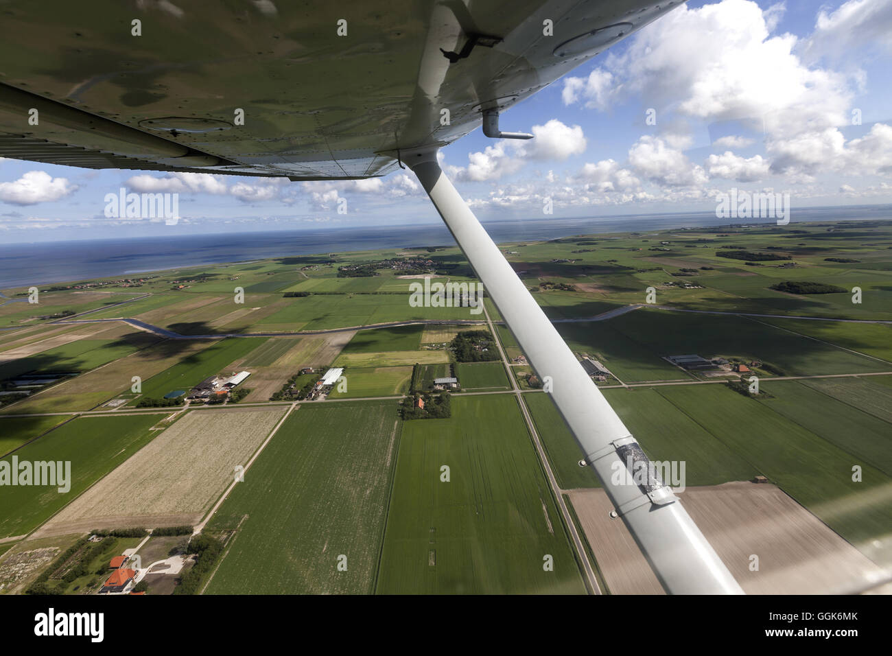 Aerial view of farms on Texel Island, North Holland, The Netherlands - Stock Image