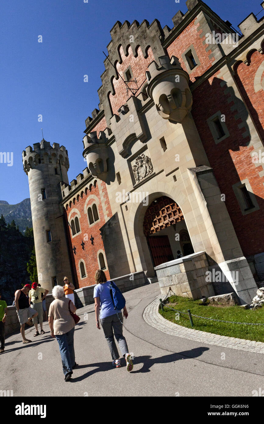 Entrance to Schloss Neuschwanstein, Hohenschwangau, Bavaria, Germany - Stock Image