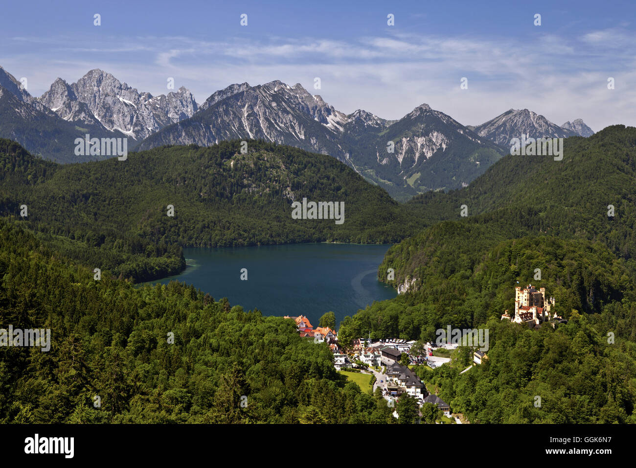lake Alpsee near Schwangau, Hohenschwangau, Bavaria, Germany - Stock Image